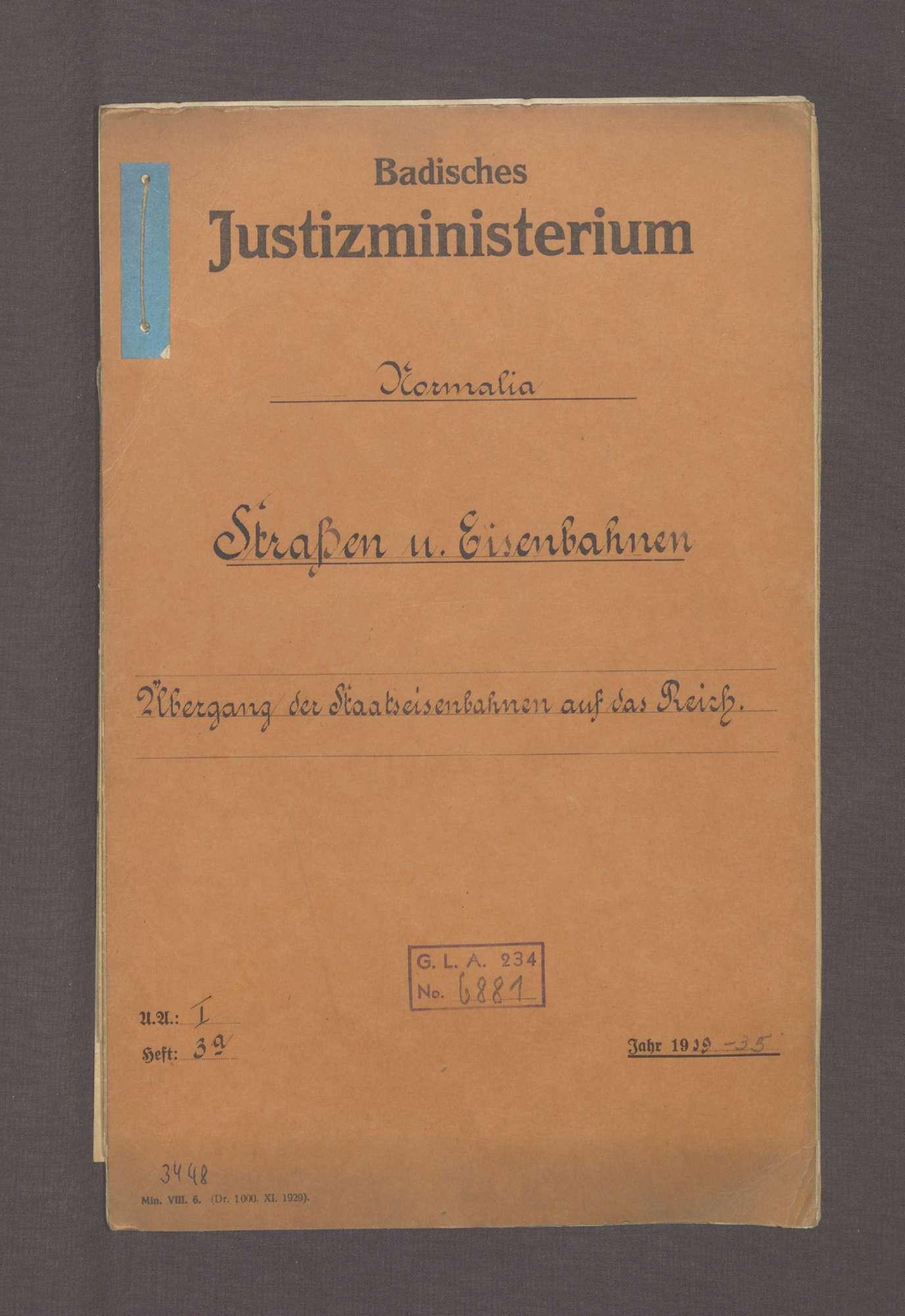 Übergang der Staatseisenbahnen auf das Reich (Normalia), Bild 1