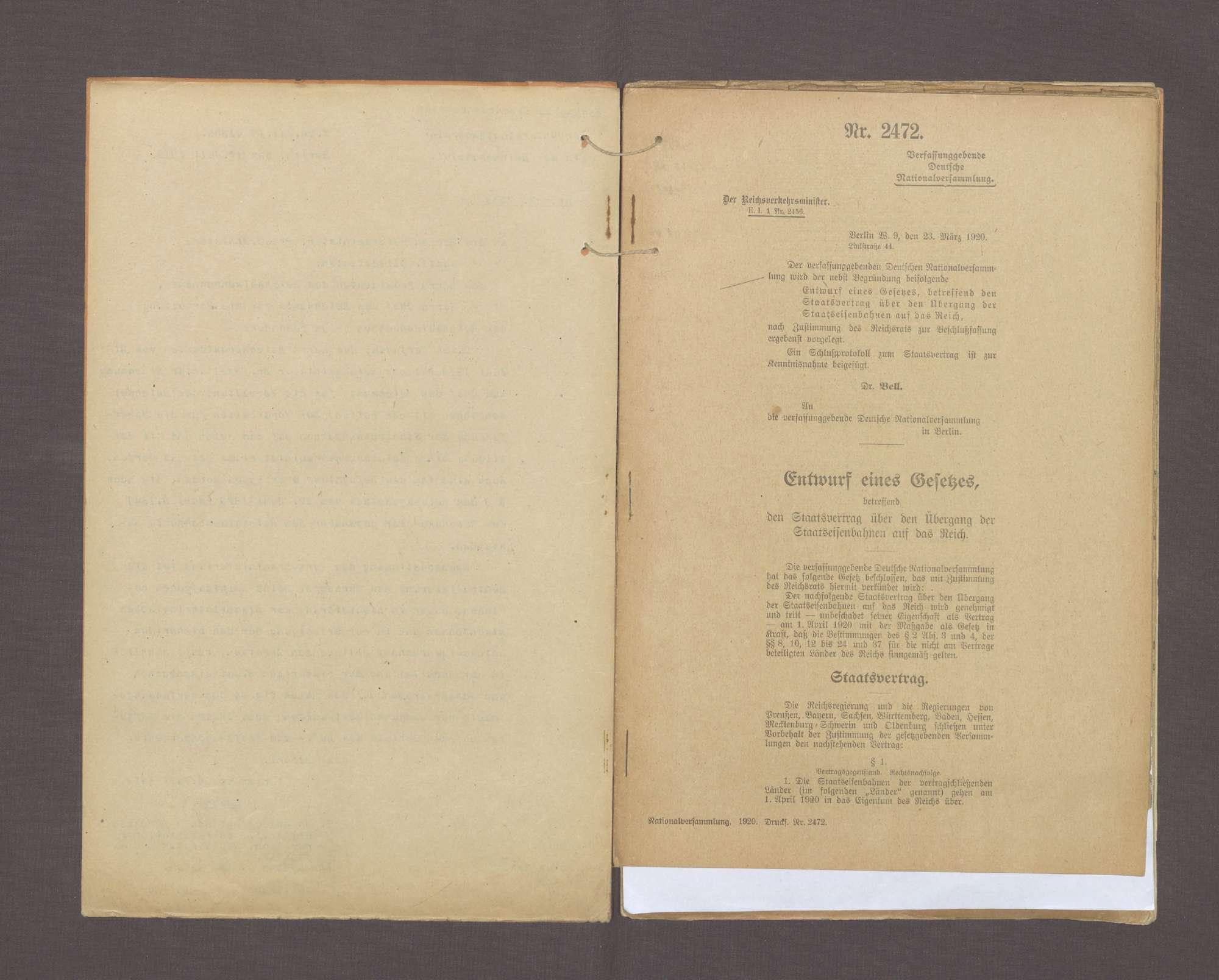 Übergang der Staatseisenbahnen auf das Reich (Normalia), Bild 3