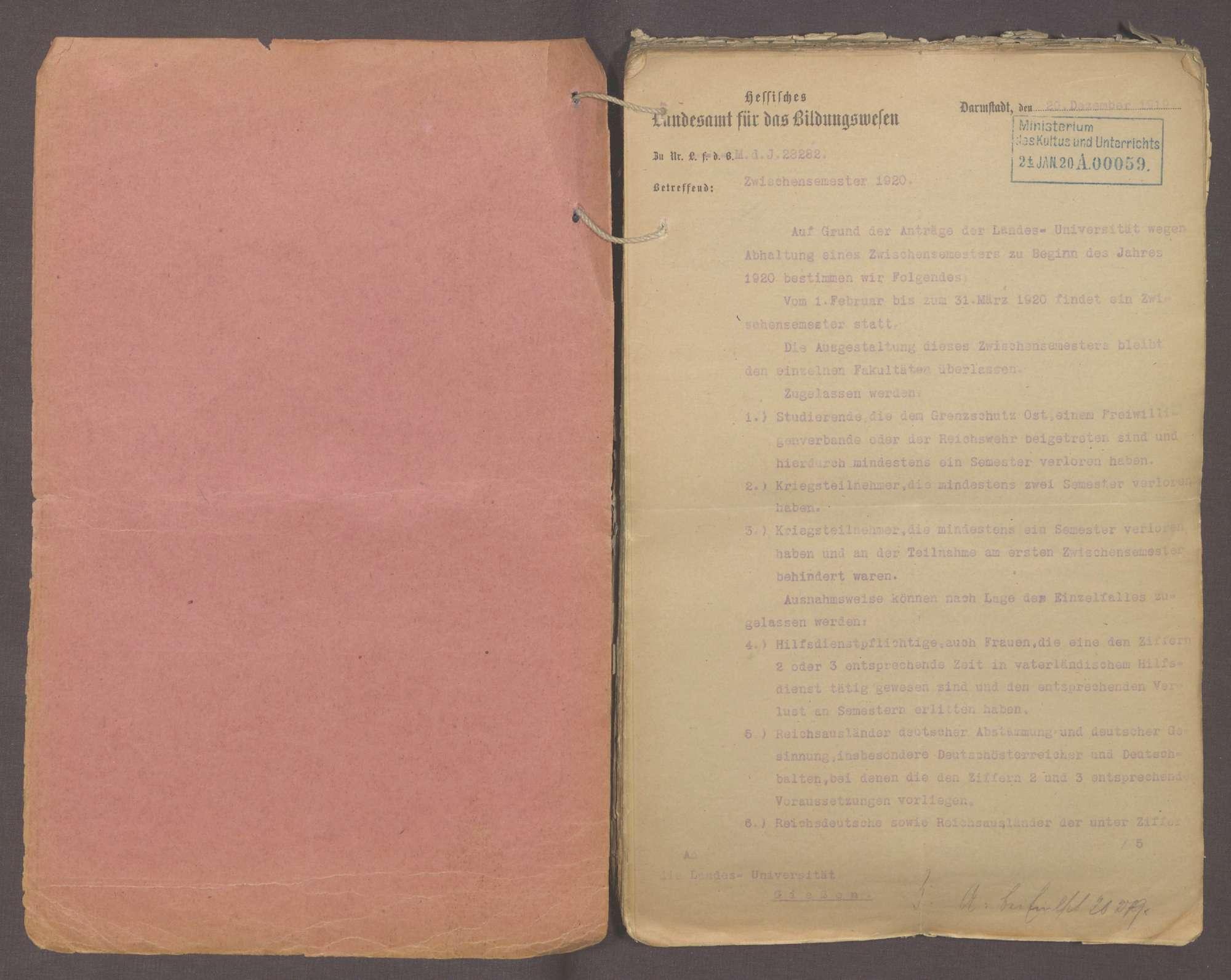 Hochschulstudium der Kriegsteilnehmer, die Anrechnung des Kriegsdienstes auf die Studienzeit und die Dreiteilung des akademischen Studienjahres (II), Bild 2