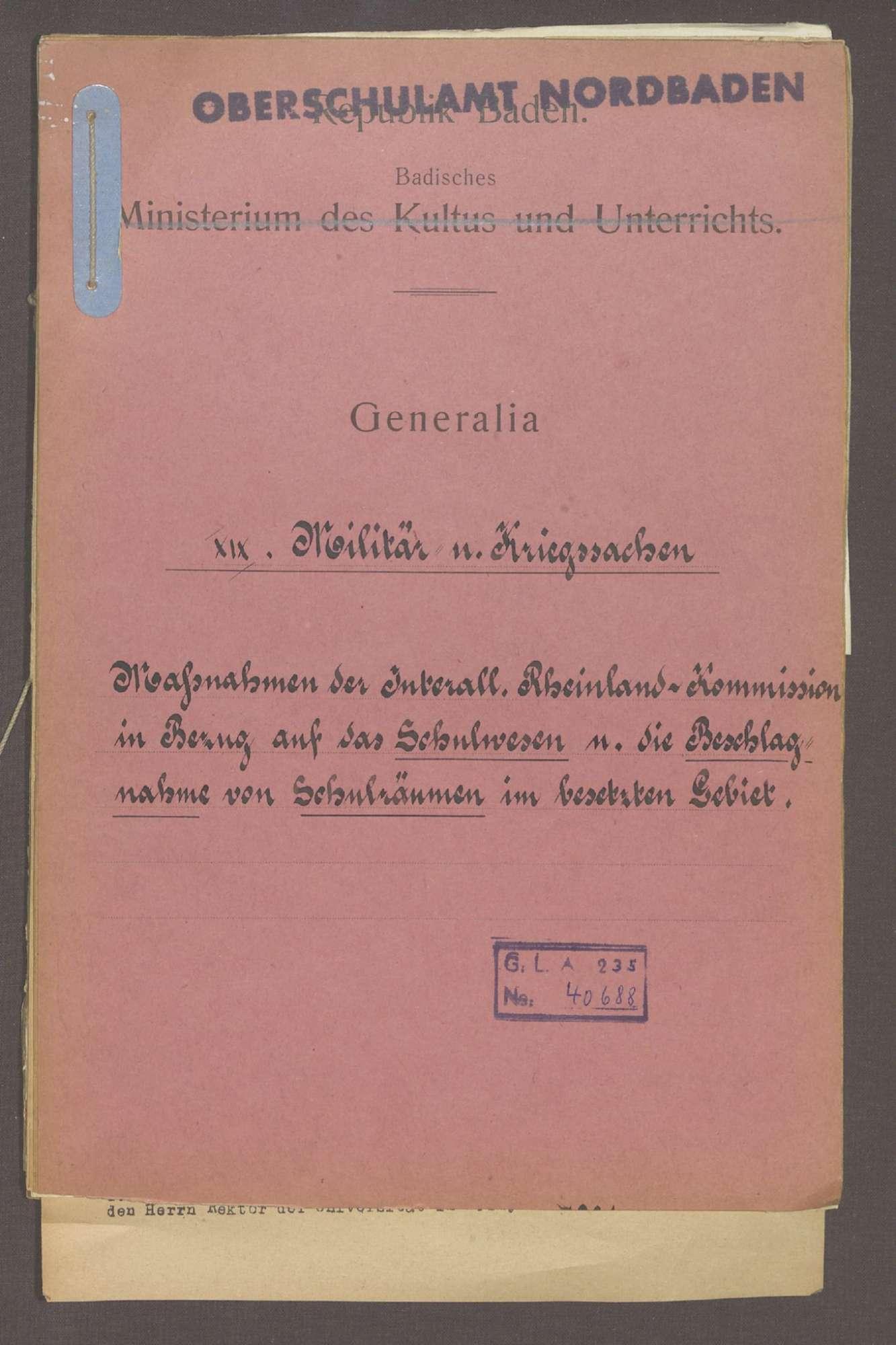 Maßnahmen der Interalliierten Rheinlandkommission in Bezug auf das Schulwesen, Bild 1