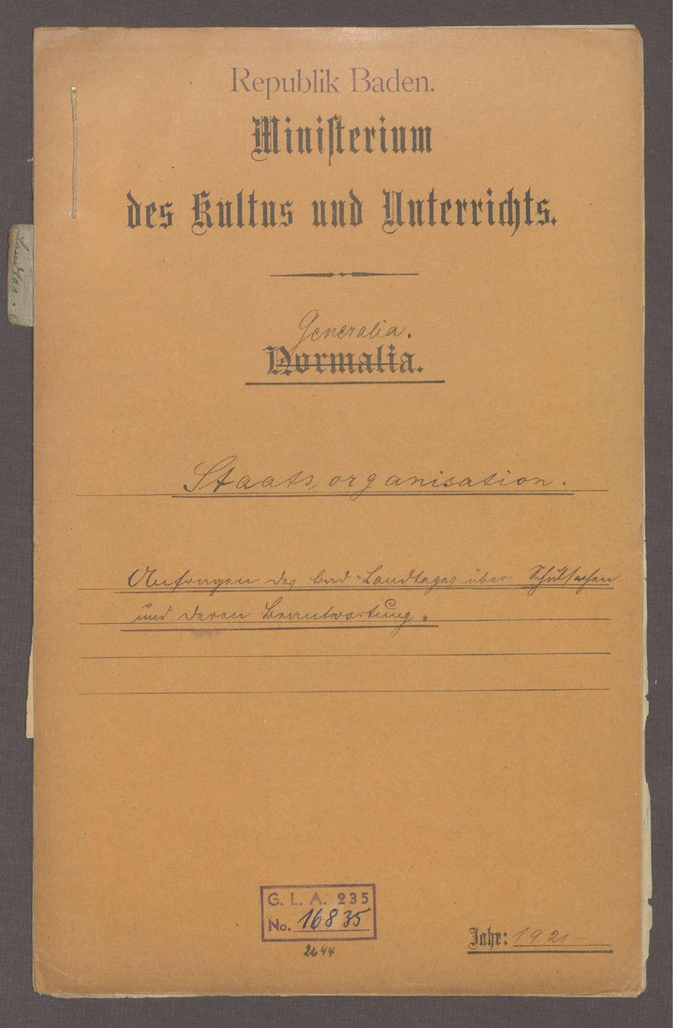 Anfragen des Badischen Landtags über Schulsachen und deren Beantwortung, Bild 1