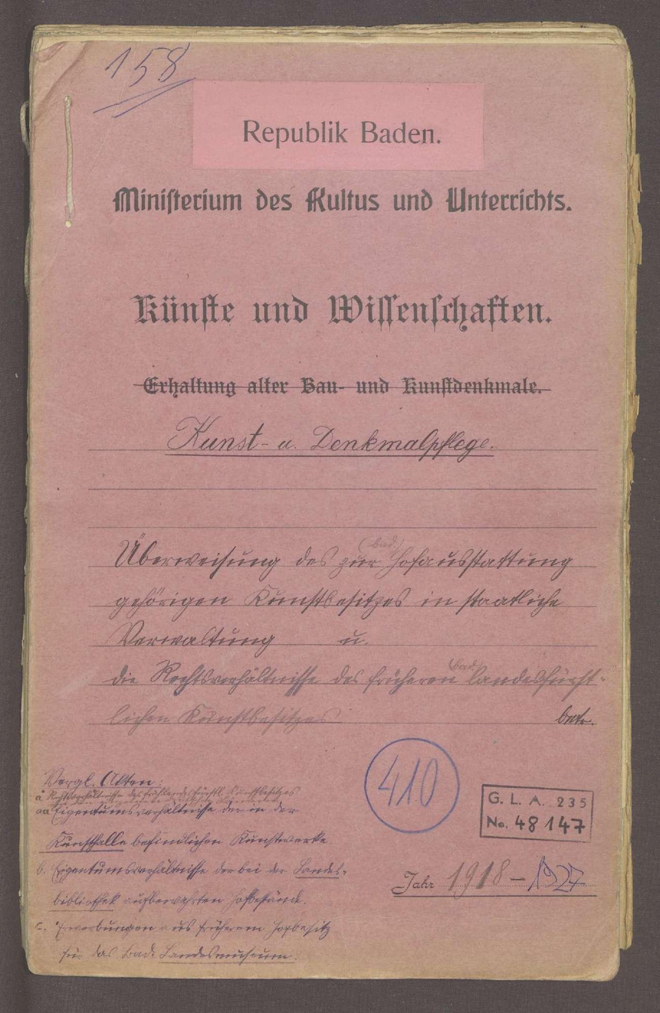 Überweisung des zur großherzoglichen Hofausstattung gehörigen Kunstbesitzes in die staatliche Verwaltung sowie die Klärung der Rechtsverhältnisse, Bild 1