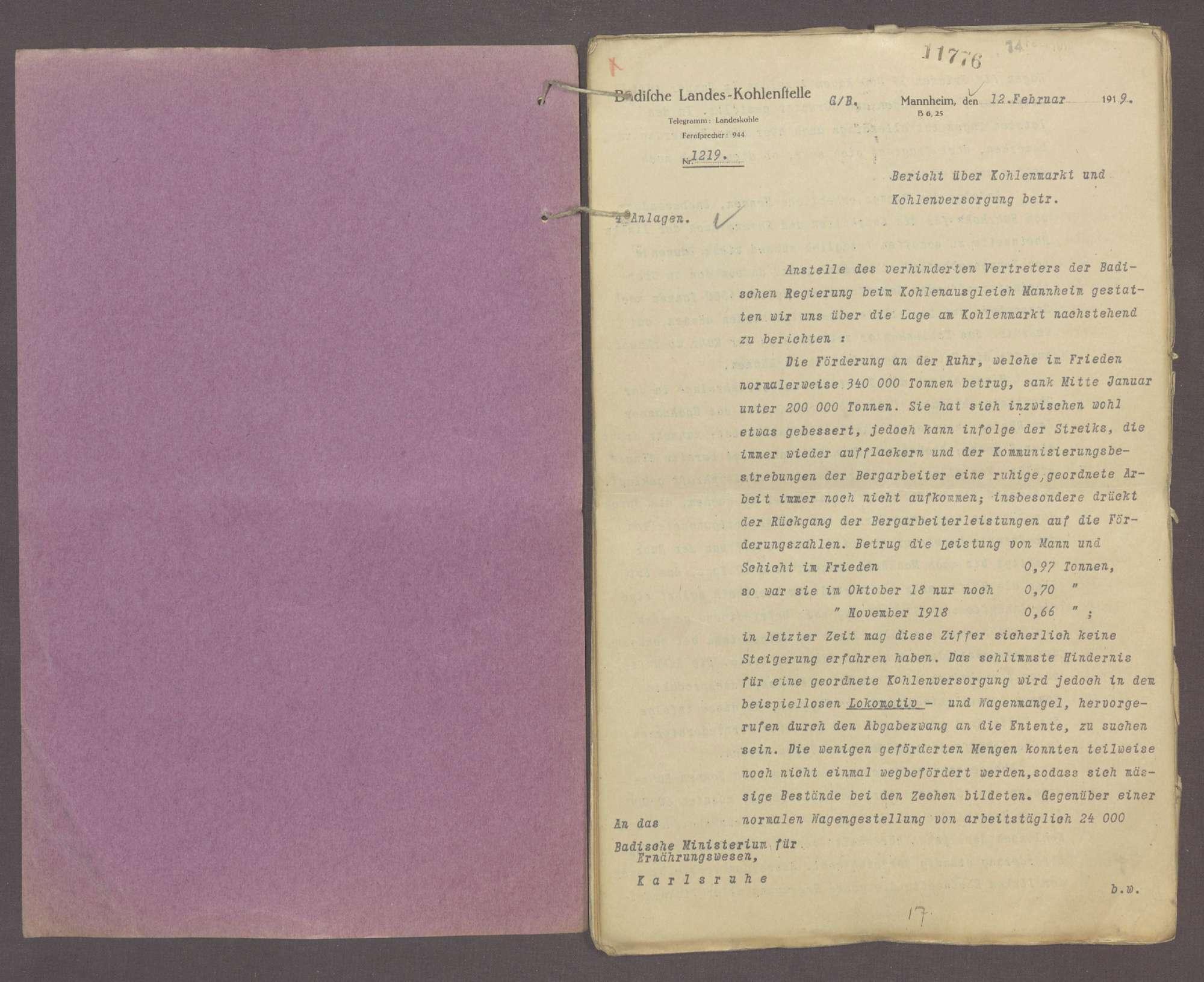 Wirtschaftliche Maßnahmen während des Krieges: Monatliche Berichte der Landeskohlenstelle Mannheim über Kohlenmarkt und Kohlenversorgung (XXVI), Bild 2