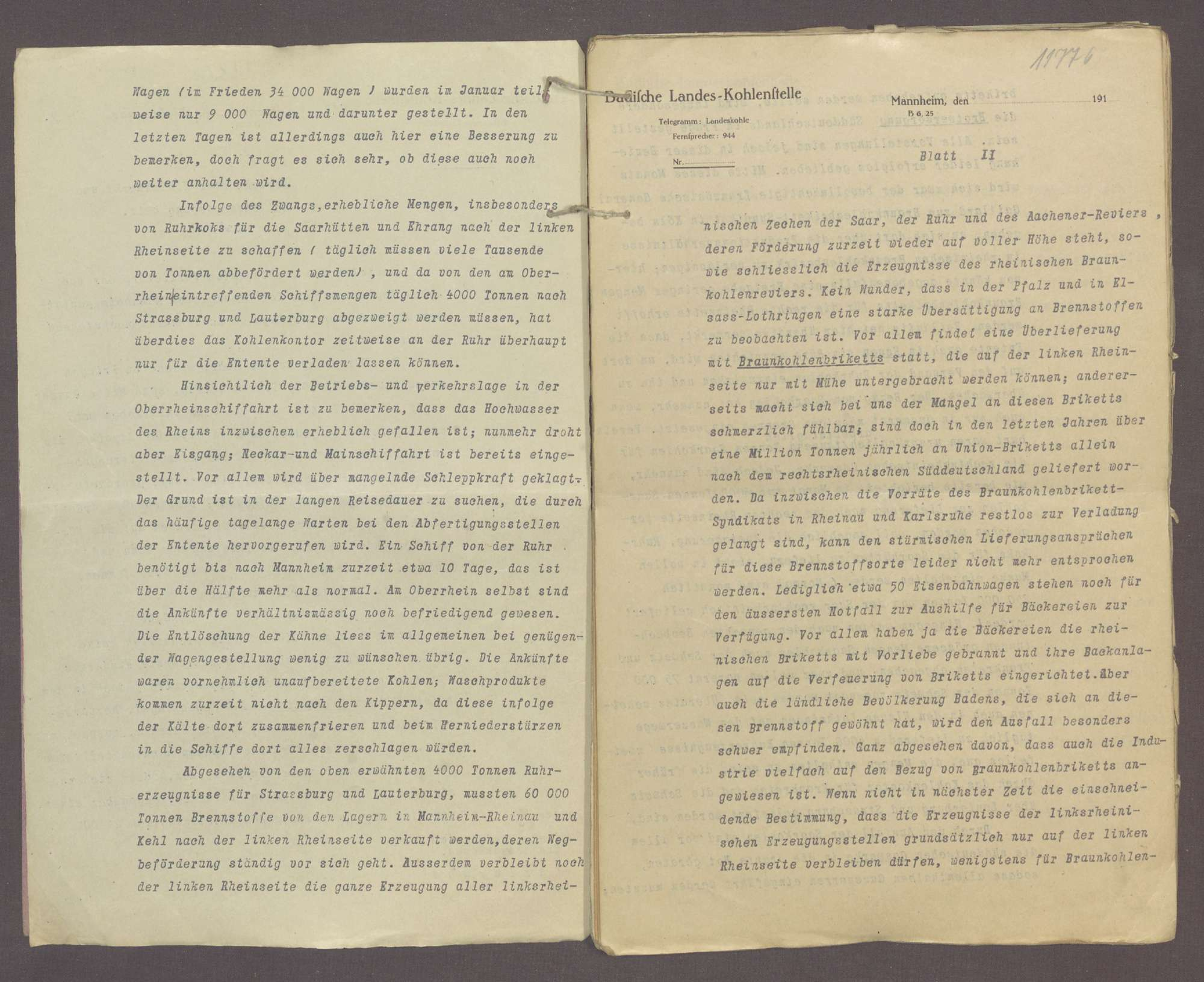 Wirtschaftliche Maßnahmen während des Krieges: Monatliche Berichte der Landeskohlenstelle Mannheim über Kohlenmarkt und Kohlenversorgung (XXVI), Bild 3