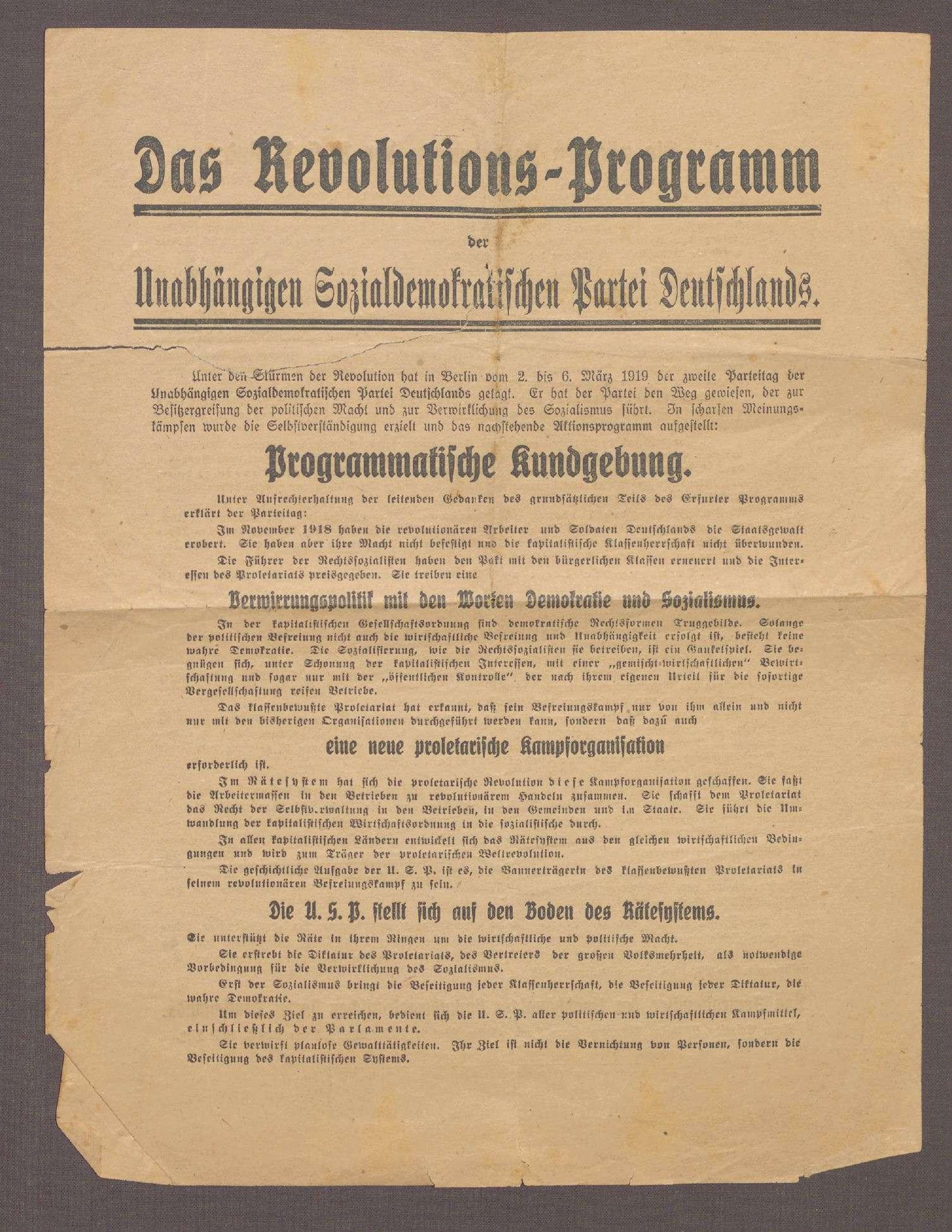 """""""Das Revolutions-Programm der Unabhängigen Sozialdemokratischen Partei Deutschlands"""", Bild 1"""