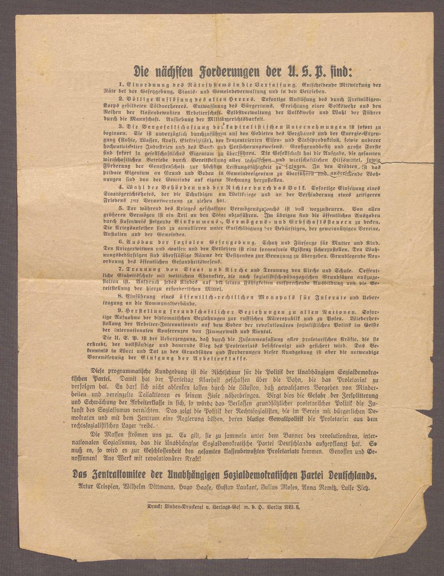 """""""Das Revolutions-Programm der Unabhängigen Sozialdemokratischen Partei Deutschlands"""", Bild 2"""