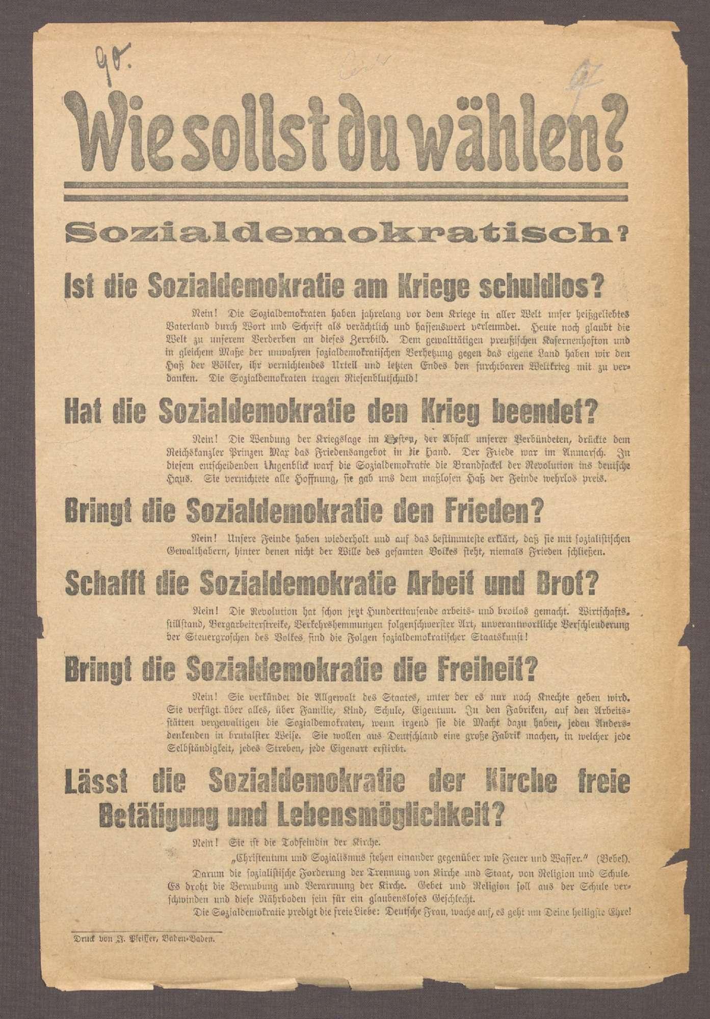"""""""Wähler und Wählerinnen! [...] wählt niemals sozialdemokratisch, dagegen Zentrum!"""", Bild 1"""