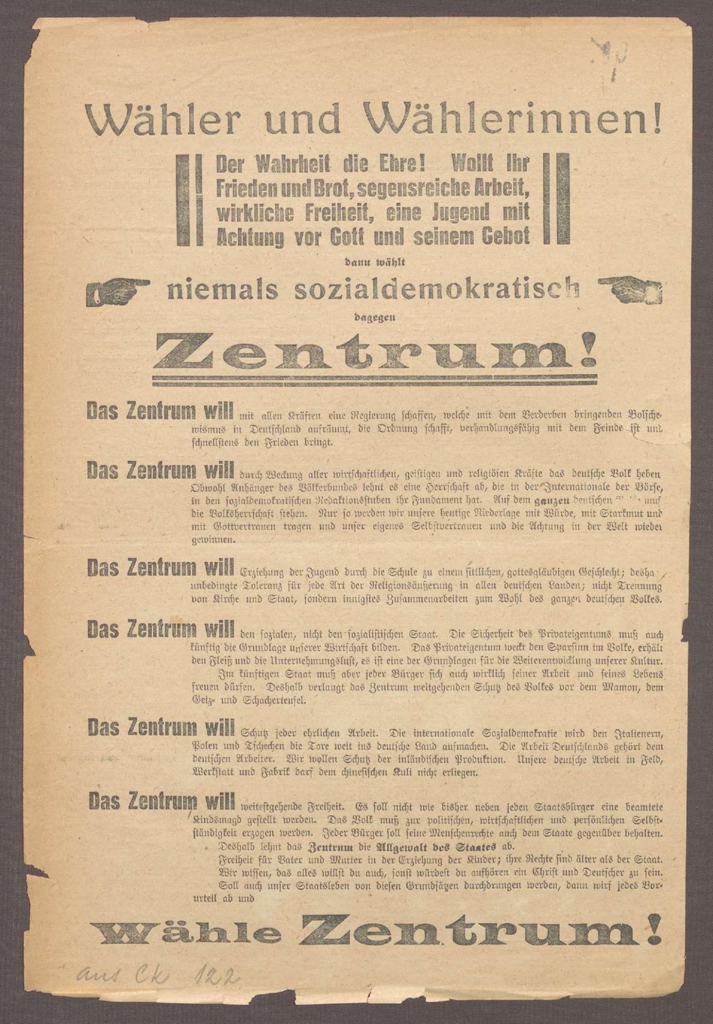 """""""Wähler und Wählerinnen! [...] wählt niemals sozialdemokratisch, dagegen Zentrum!"""", Bild 2"""