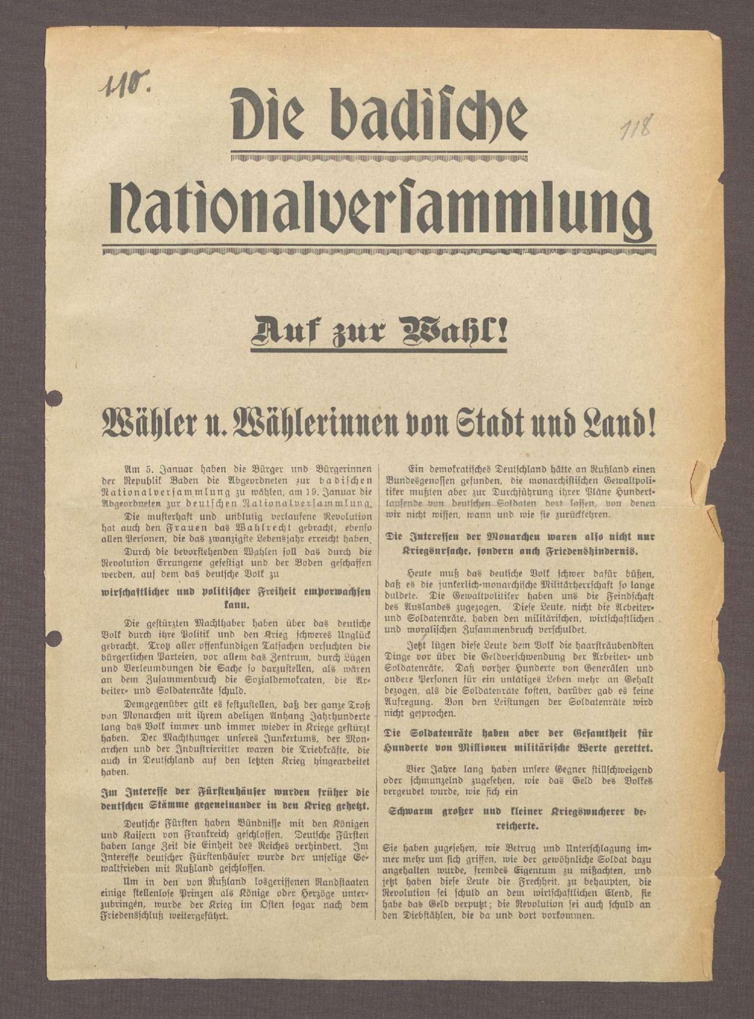 """""""Die badische Nationalversammlung. Auf zur Wahl!"""": Flugblatt der SPD Konstanz und ihres Spitzenkandidaten Karl Großhans, Bild 1"""