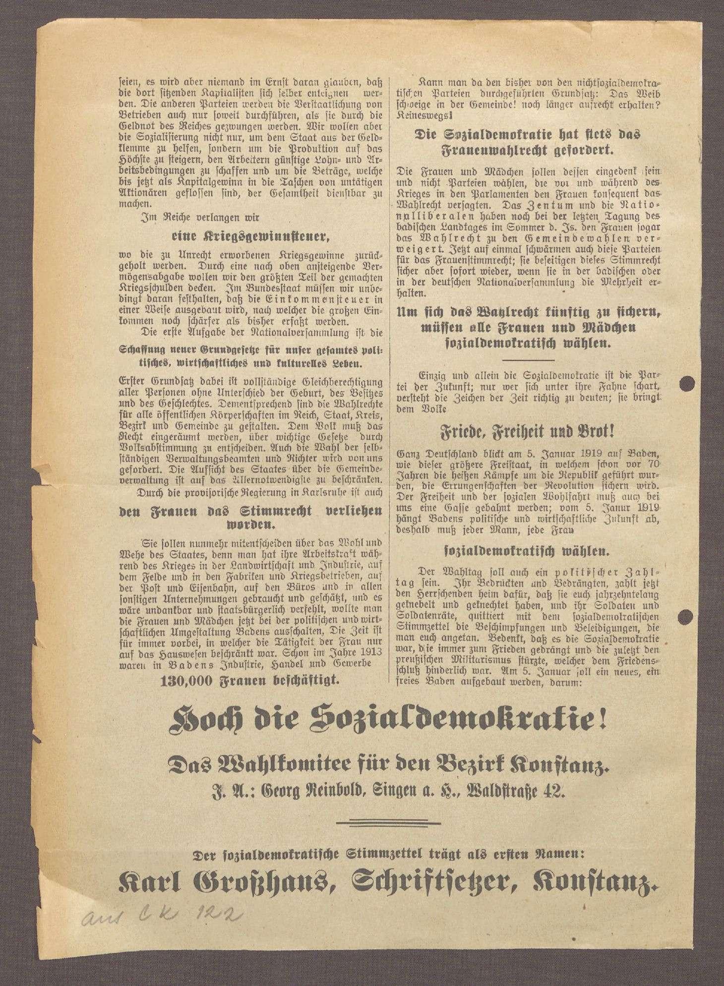 """""""Die badische Nationalversammlung. Auf zur Wahl!"""": Flugblatt der SPD Konstanz und ihres Spitzenkandidaten Karl Großhans, Bild 3"""