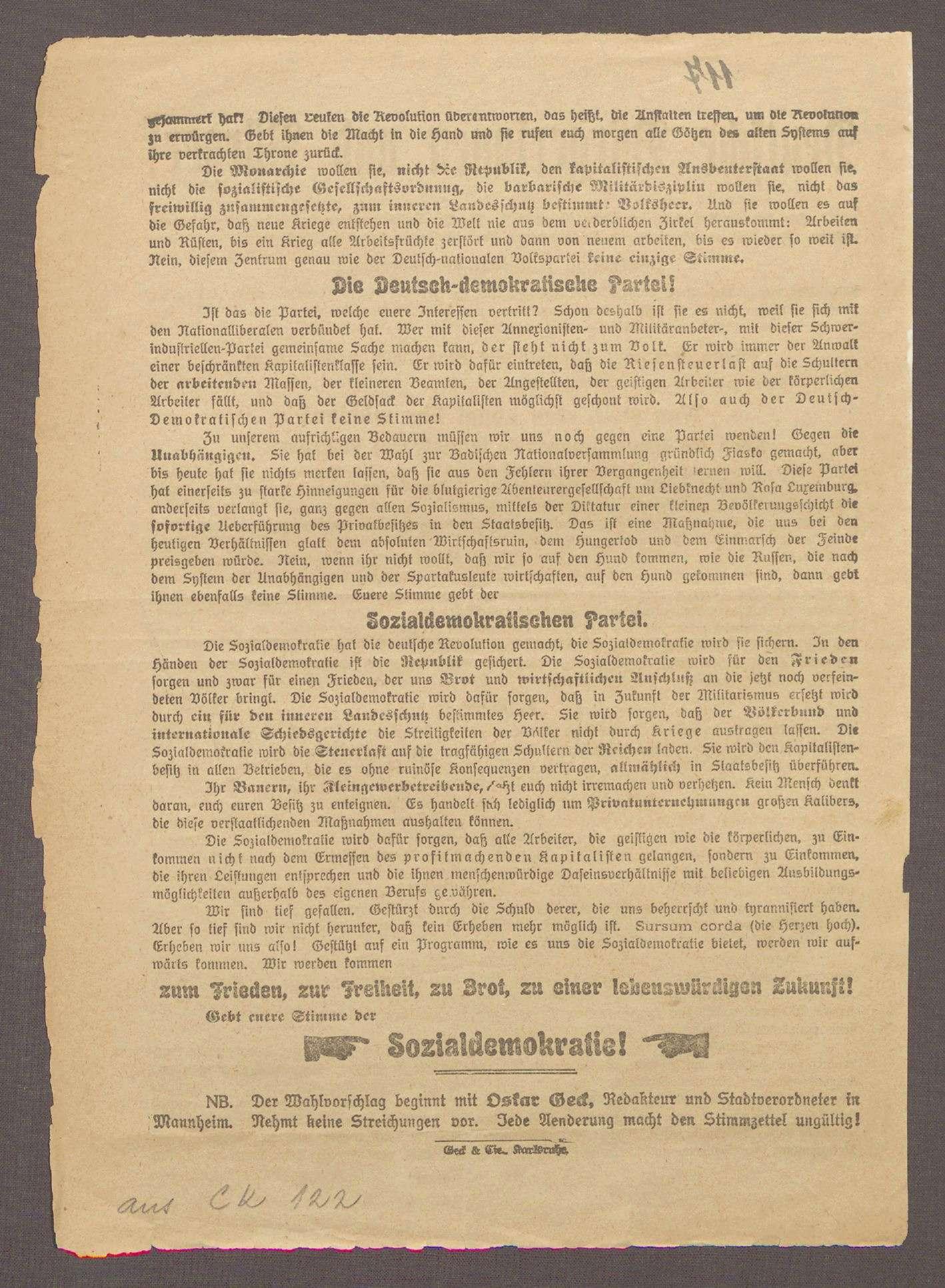 """""""Deutsche Bürgerinnen und Bürger!"""": Flugblatt der SPD und ihres Spitzenkandidaten Oskar Geck, Bild 2"""