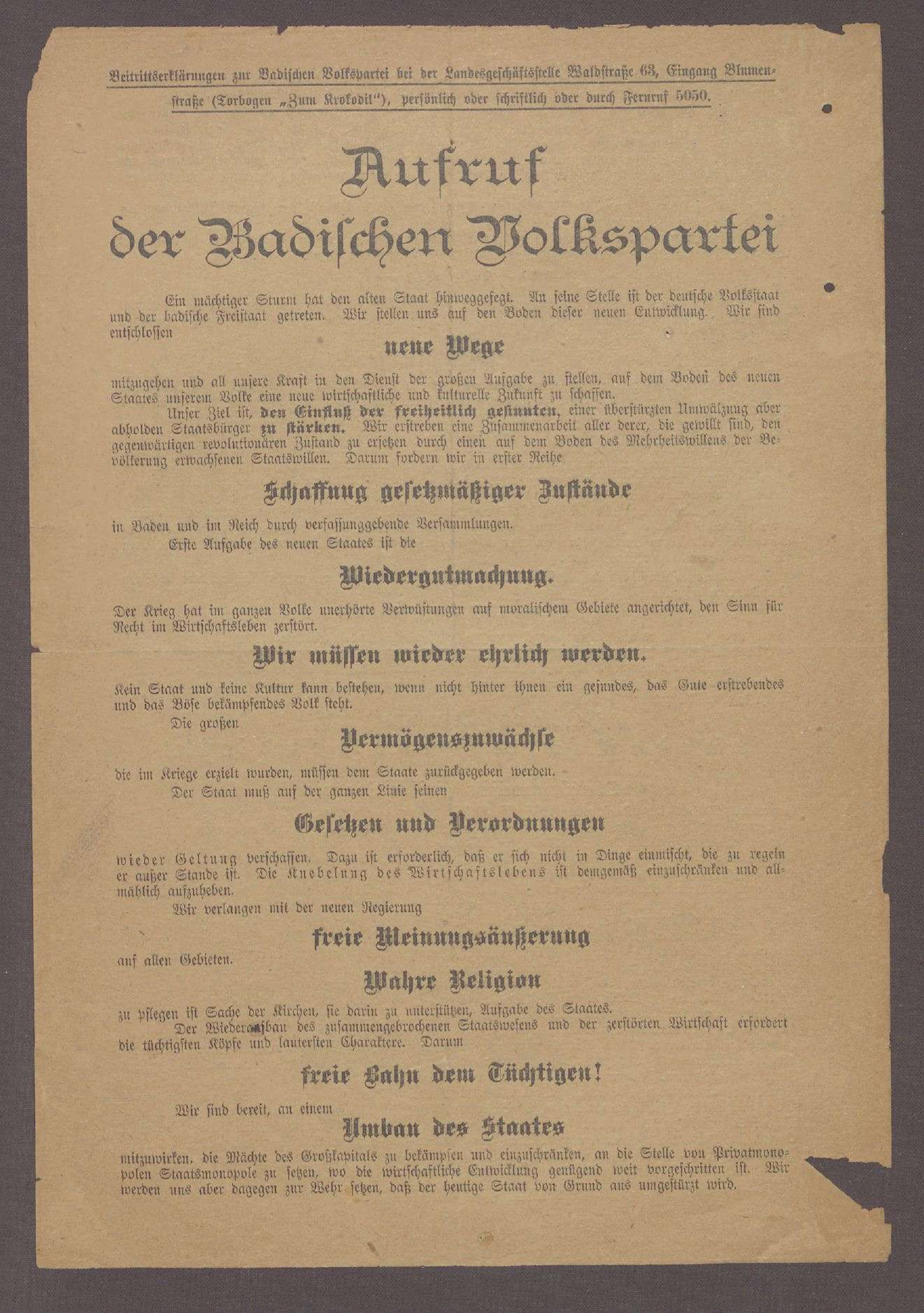 """""""Aufruf der Badischen Volkspartei"""": Flugblatt der Badischen Volkspartei [später DDP] und ihres Spitzenkandidaten Hermann Dietrich, Bild 1"""