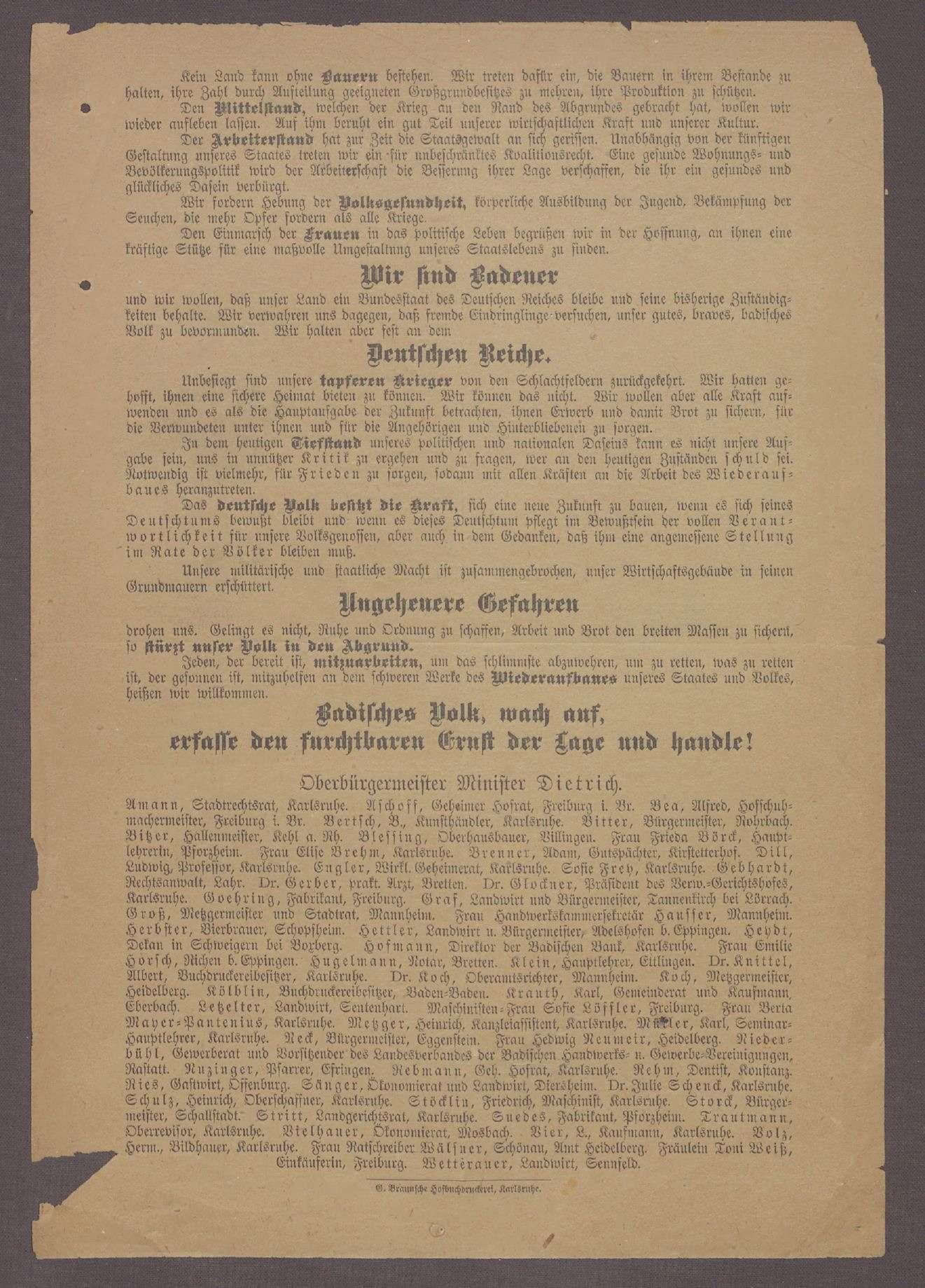 """""""Aufruf der Badischen Volkspartei"""": Flugblatt der Badischen Volkspartei [später DDP] und ihres Spitzenkandidaten Hermann Dietrich, Bild 2"""