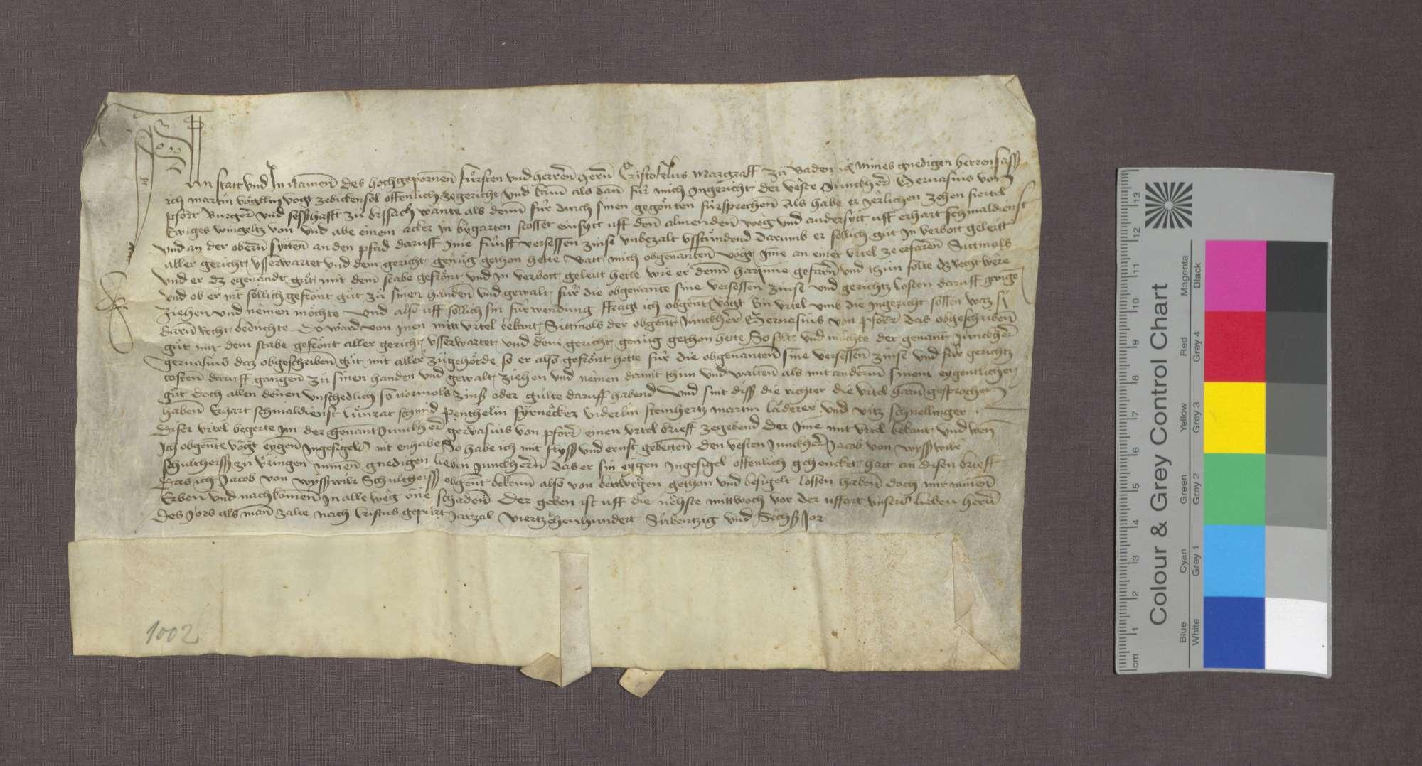 Das Gericht zu Bickensohl spricht dem Gervasius von Pforr in Breisach Güter in Bickensohl wegen rückständiger Weinzinse zu., Bild 1