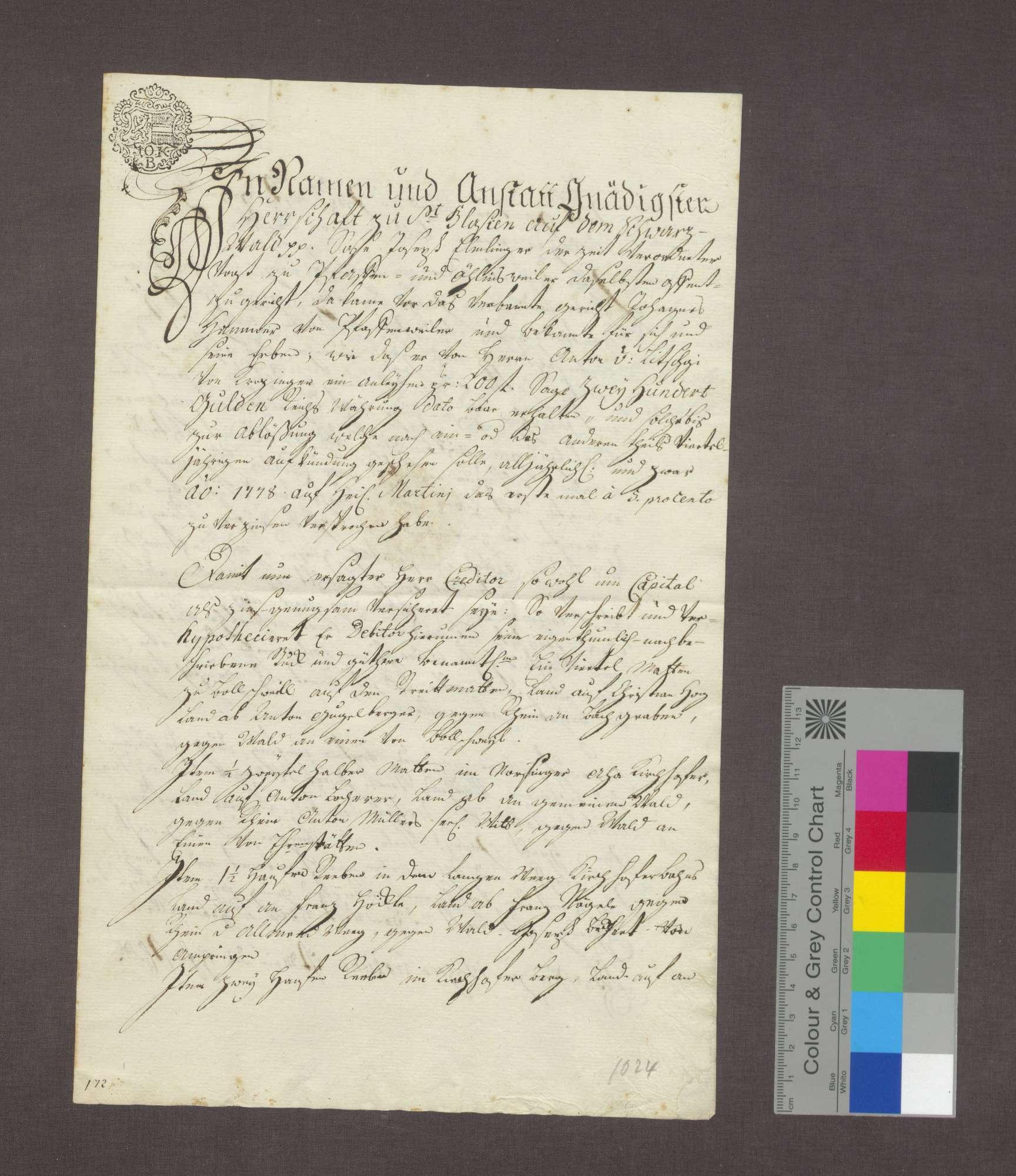 Johannes Hammer von Pfaffenweiler verschreibt dem Anton von Litschgi von Krozingen für ein Darlehen von 200 Gulden Güter im Bollschweiler, Norsinger und Kirchhofer Bann., Bild 1