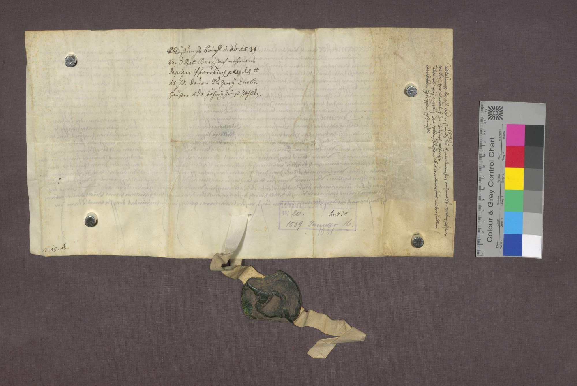 Bürgermeister und Rat zu Breisach bescheinigen der Cotidian zu Basel die Rückzahlung der Schuld auf einem Haus zu Breisach an die Pfarrkirche St. Stefan., Bild 2
