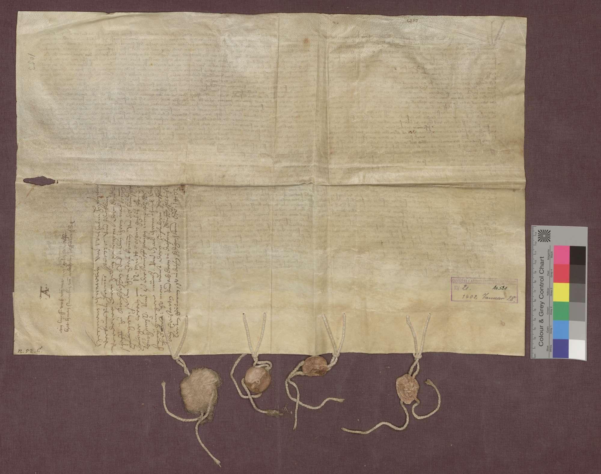 Die Edelknechte Hermann Schnewli und Wilhelm Hefenler verkaufen eine Gült zu Ehrenstetten an die Bruderschaft zu Kirchhofen., Bild 2