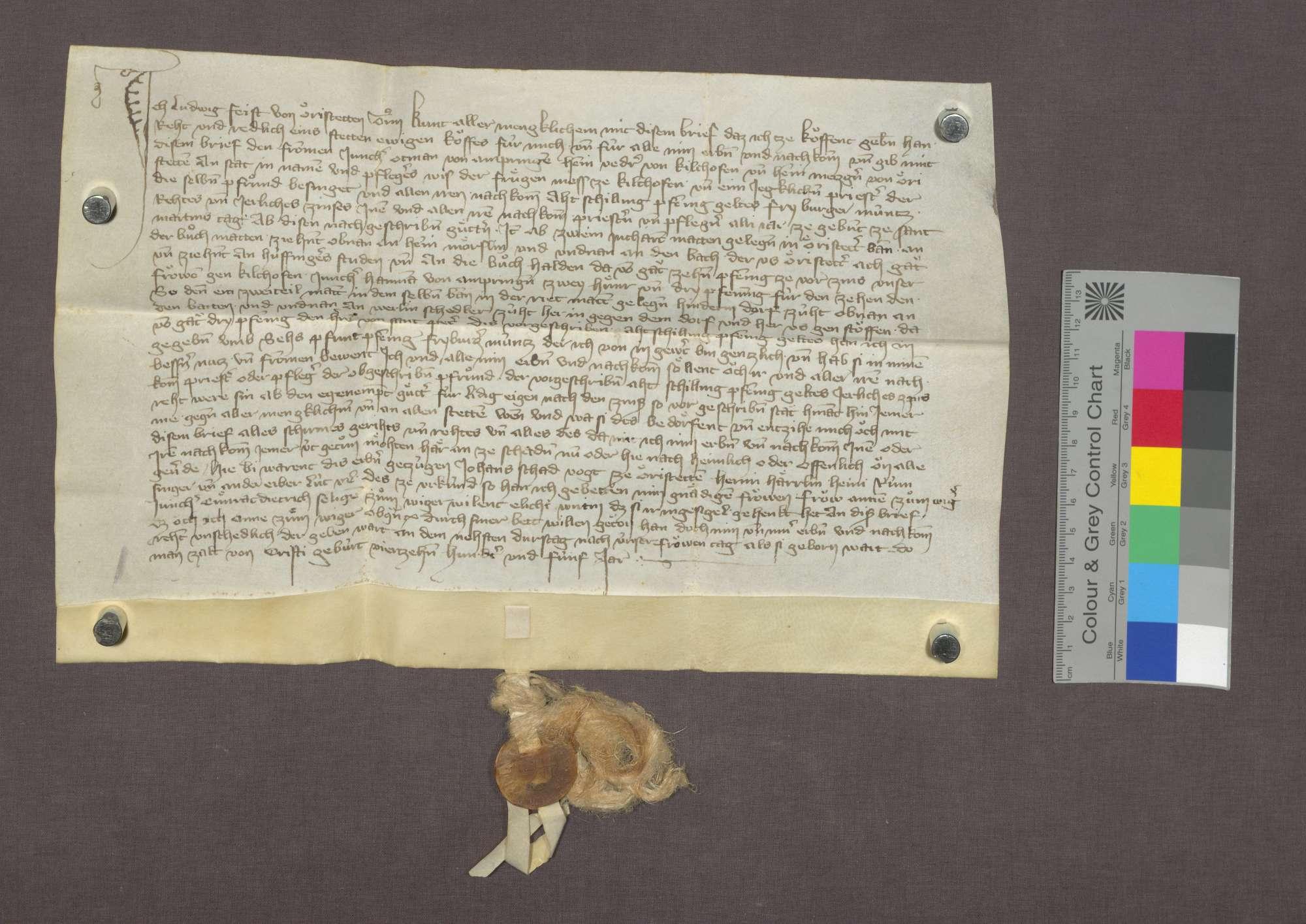Gültverschreibung des Ludwig Feist von Ehrenstetten gegenüber der Frühmesserei zu Kirchhofen., Bild 1