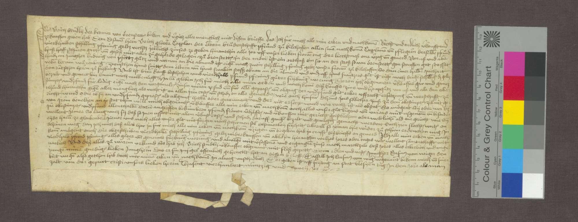 Schuldbrief des Ulrich Studly zu Ehrenstetten für die ältere Bruderschaftpfründe zu Kirchhofen., Bild 1