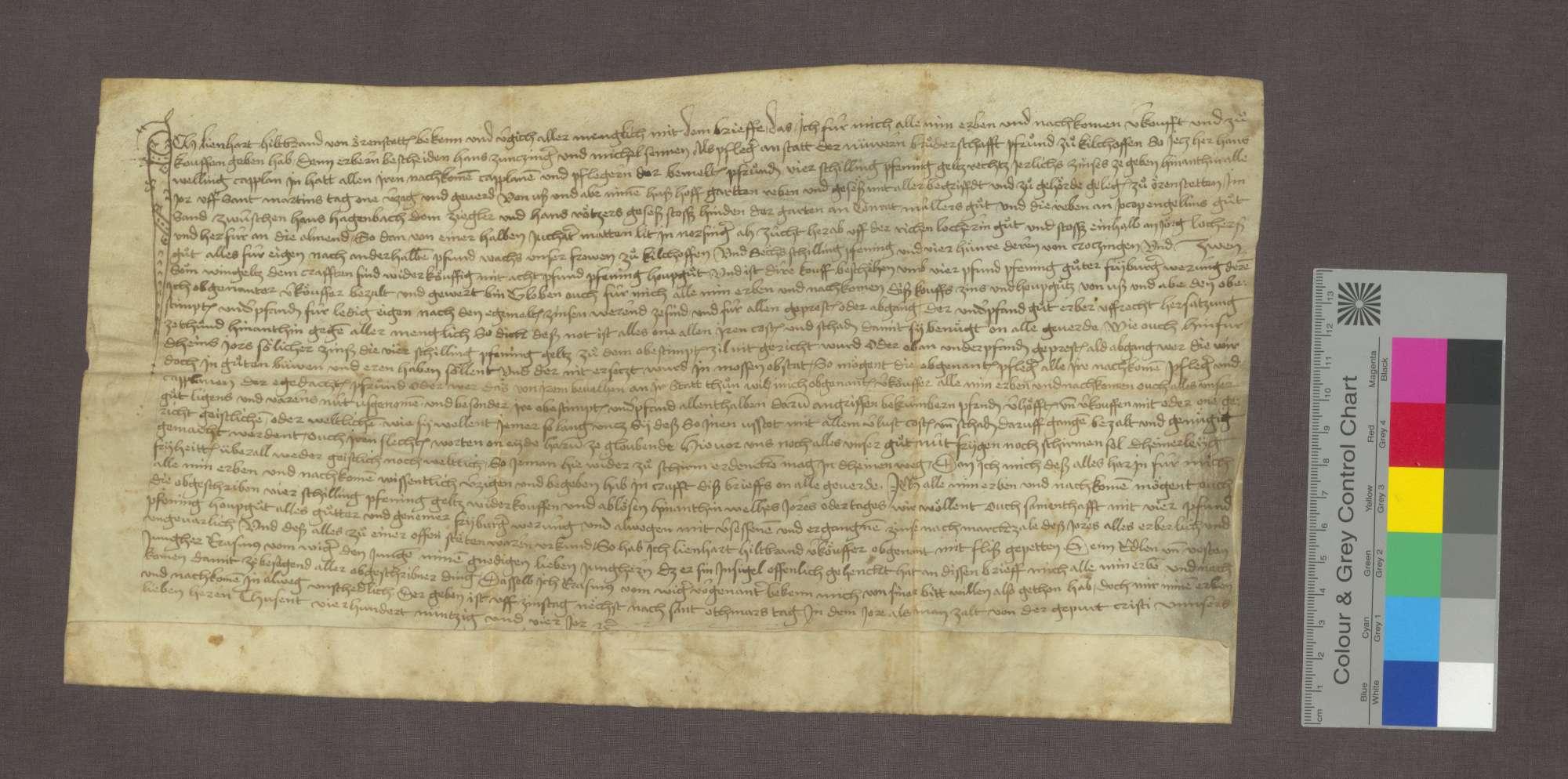 Zinsbrief des Lienhart Hiltprand zu Ehrenstetten für die neuere Bruderschaft zu Kirchhofen., Bild 1
