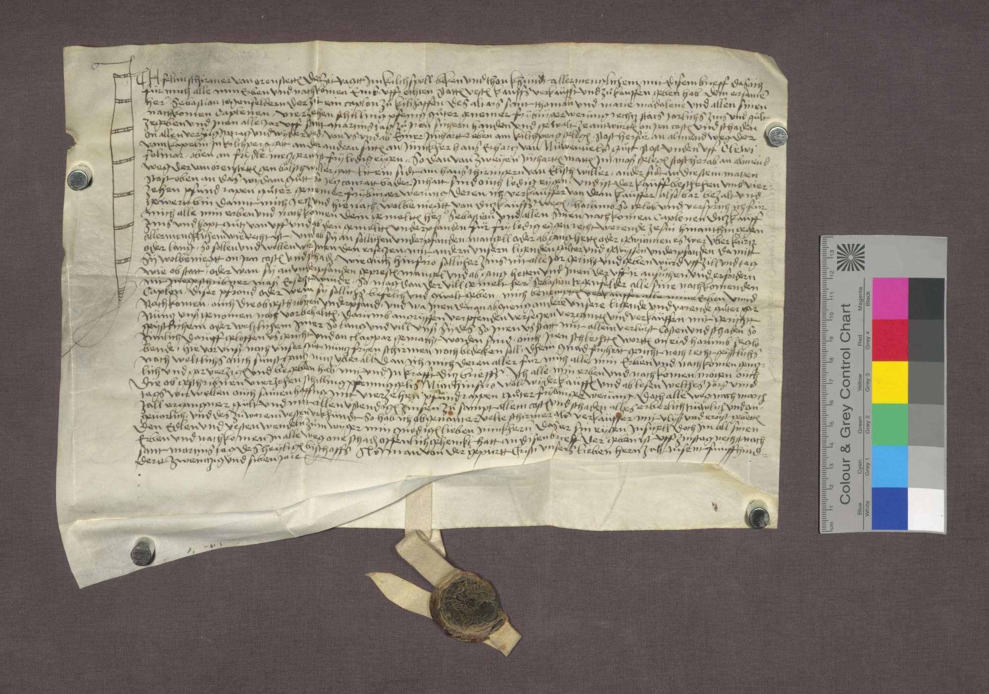 Schuldverschreibung des Veltin Schirmer zu Ehrenstetten gegenüber der St. Thomas- und Maria-Magdalenen-Kaplanei in Kirchhofen., Bild 1