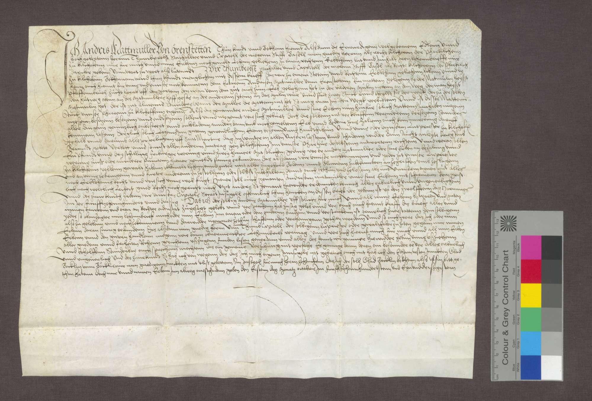 Lehnrevers des Andris Matmüller zu Ehrenstetten gegenüber dem Domkapitel zu Basel als Kirchherrn zu Kirchhofen., Bild 1