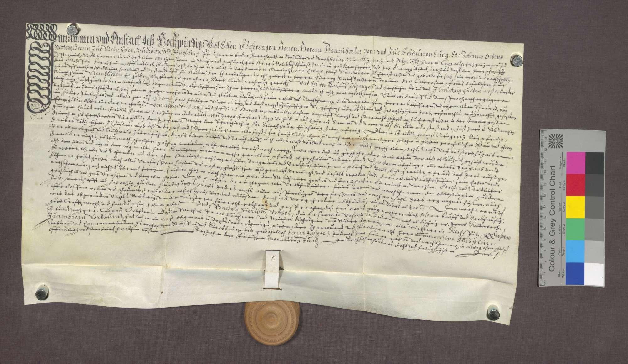 Schuldverschreibung des Hans Senn von Ehrenstetten gegenüber Georg Stiefvater, Kaplan in Kirchhofen., Bild 1