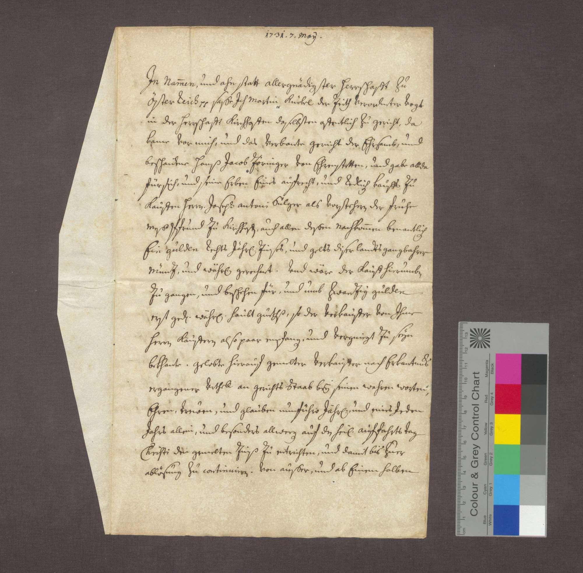 Schuldverschreibung des Hans Jakob Zöringer in Ehrenstetten gegenüber der Frühmesse in Kirchhofen., Bild 1