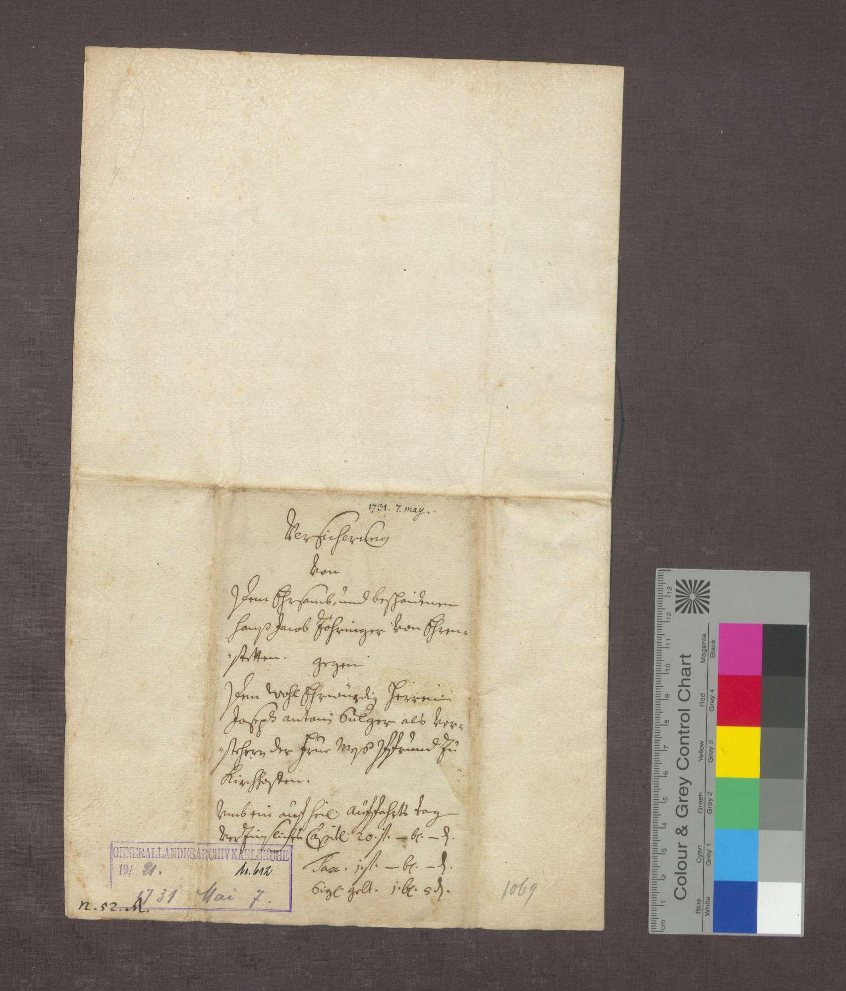 Schuldverschreibung des Hans Jakob Zöringer in Ehrenstetten gegenüber der Frühmesse in Kirchhofen., Bild 3