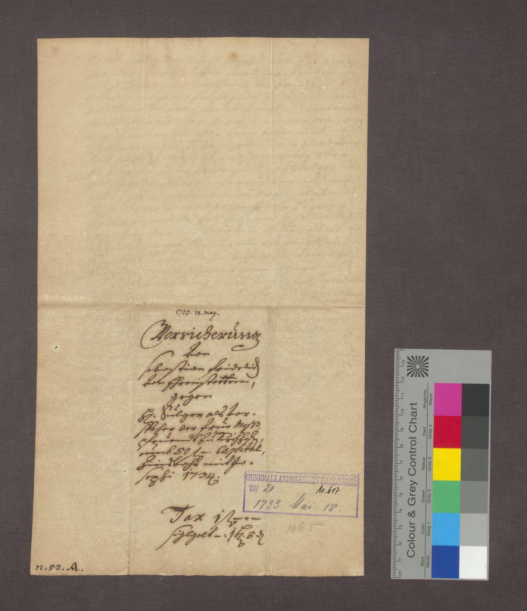 Schuldverschreibung des Sebastian Friedrich von Ehrenstetten gegenüber der Frühmesse in Kirchhofen., Bild 3