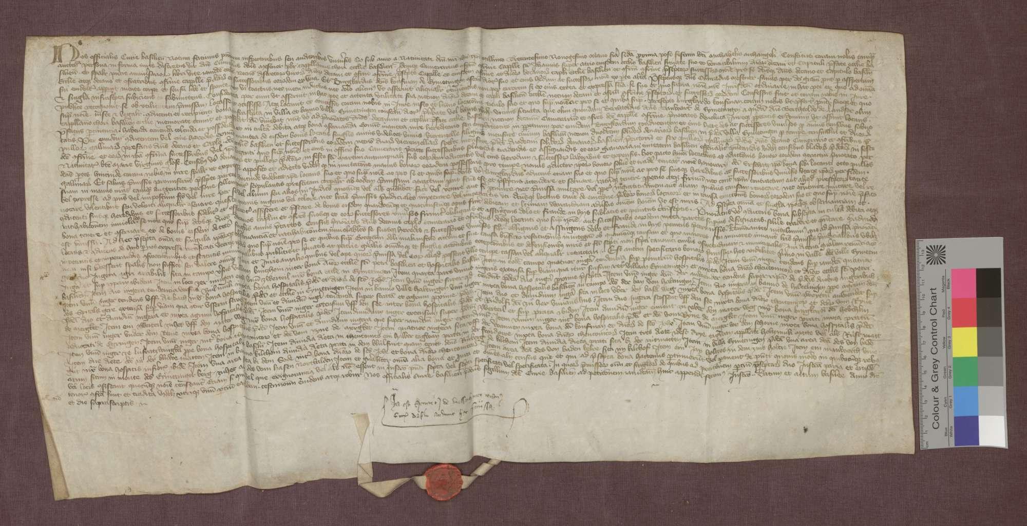 Lehnbrief des Basler Domkapitels für Burkhard gen. Kaufman von Eimeldingen über Güter zu Eimeldingen, Kirchen, Haltingen und Hiltlingen., Bild 1