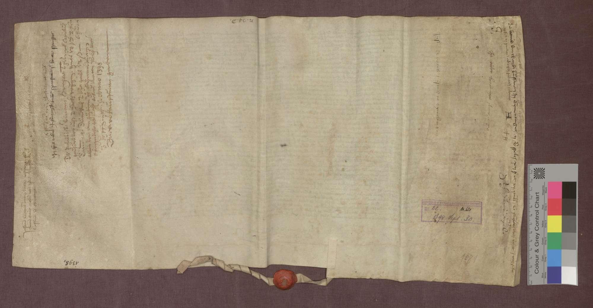 Lehnbrief des Basler Domkapitels für Burkhard gen. Kaufman von Eimeldingen über Güter zu Eimeldingen, Kirchen, Haltingen und Hiltlingen., Bild 2