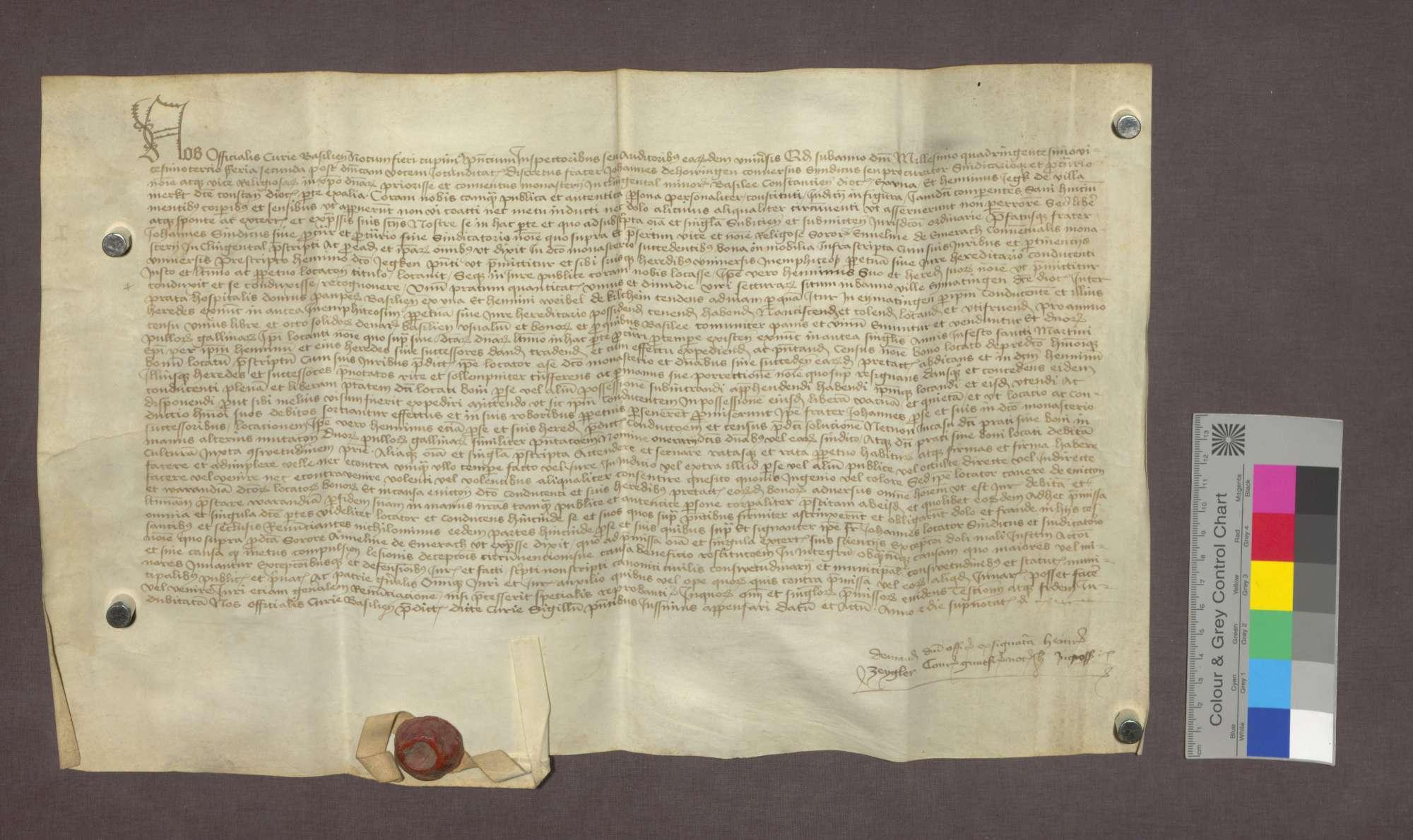 Bruder Johannes von Hauingen vergibt anstelle des Klosters Klingental Güter zu Eimeldingen an Heinrich Jegk von Märkt zu Lehen., Bild 1