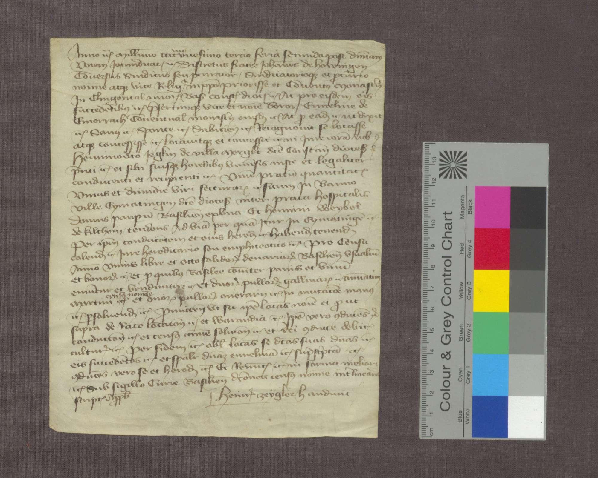 Bruder Johannes von Hauingen vergibt anstelle des Klosters Klingental an Heinrich Jegk von Märkt eine Wiese zu Eimeldingen zu Lehen., Bild 1