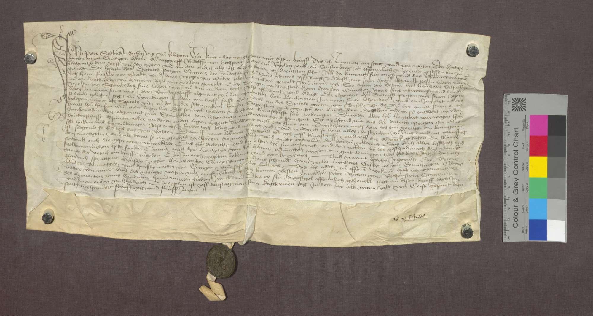 Das Gericht zu Kirchen spricht dem Stift St. Johann auf Burg in Basel im Streit mit dem Ritter Hans Münch einen Acker zu. Der Acker liegt zu Eimeldingen und gehört in das Lehngut des Heini Füßli von Märkt., Bild 1