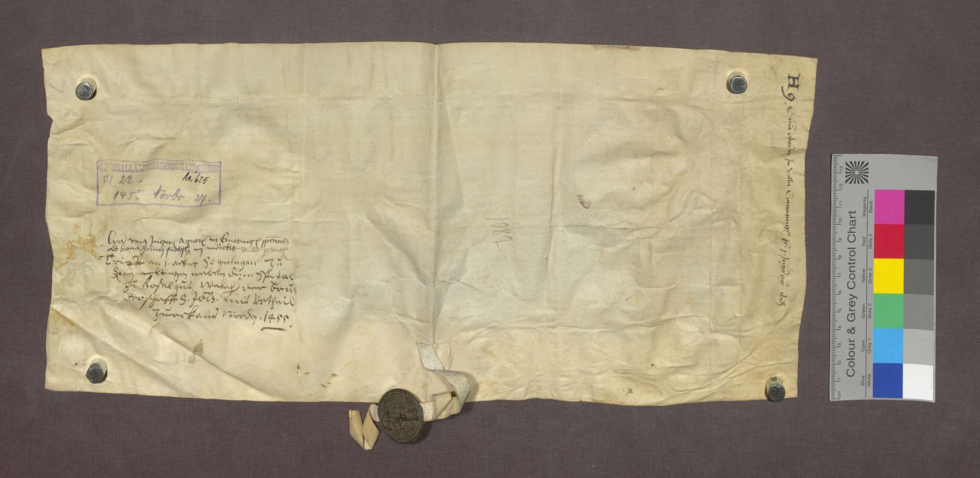 Das Gericht zu Kirchen spricht dem Stift St. Johann auf Burg in Basel im Streit mit dem Ritter Hans Münch einen Acker zu. Der Acker liegt zu Eimeldingen und gehört in das Lehngut des Heini Füßli von Märkt., Bild 2