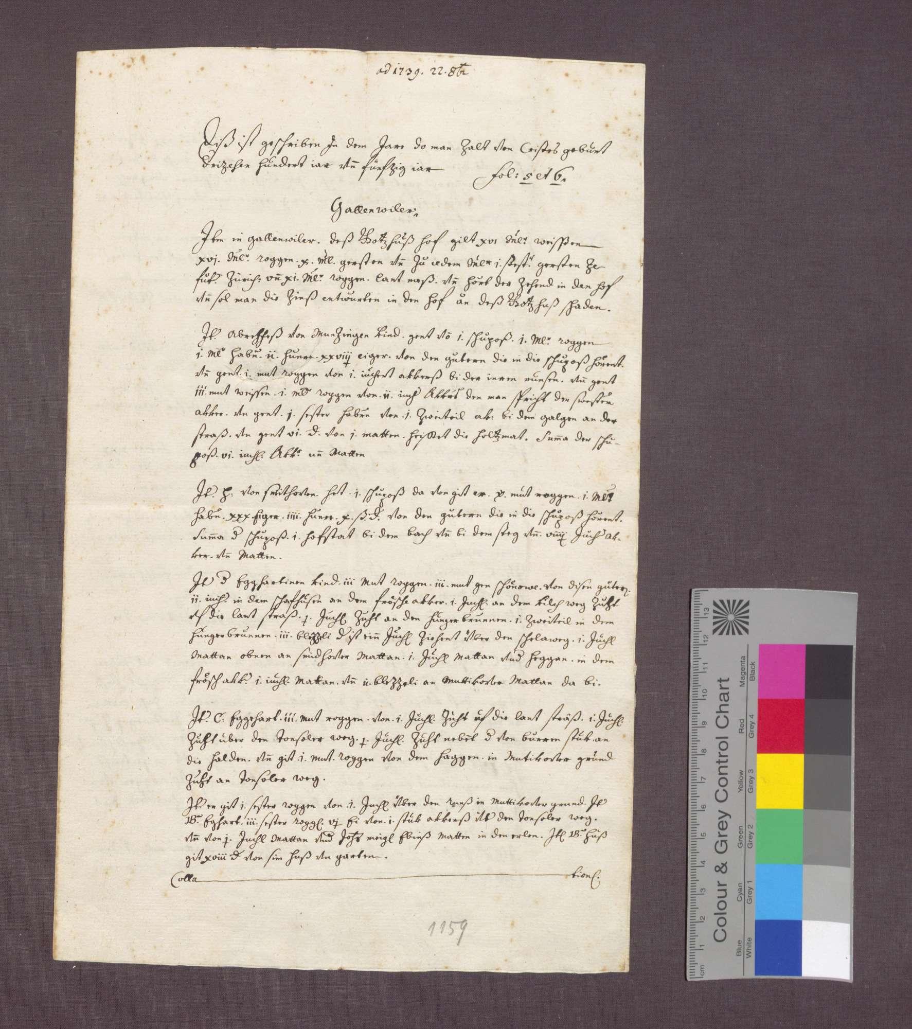 Beschreibung von Gütern und Gülten der Abtei St. Blasien zu Gallenweiler., Bild 1