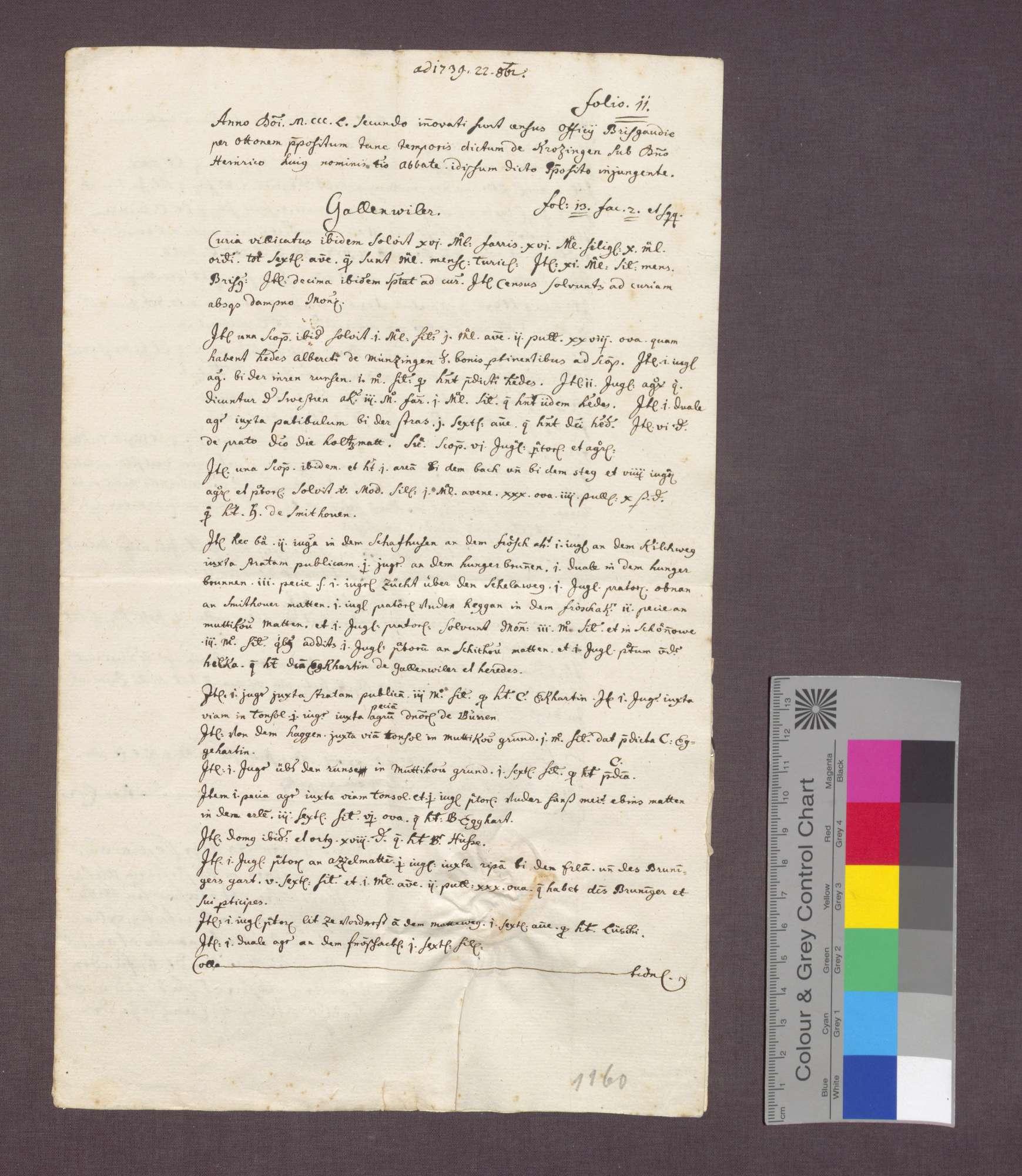 Beschreibung der Zinse der Abtei St. Blasien zu Gallenweiler., Bild 1