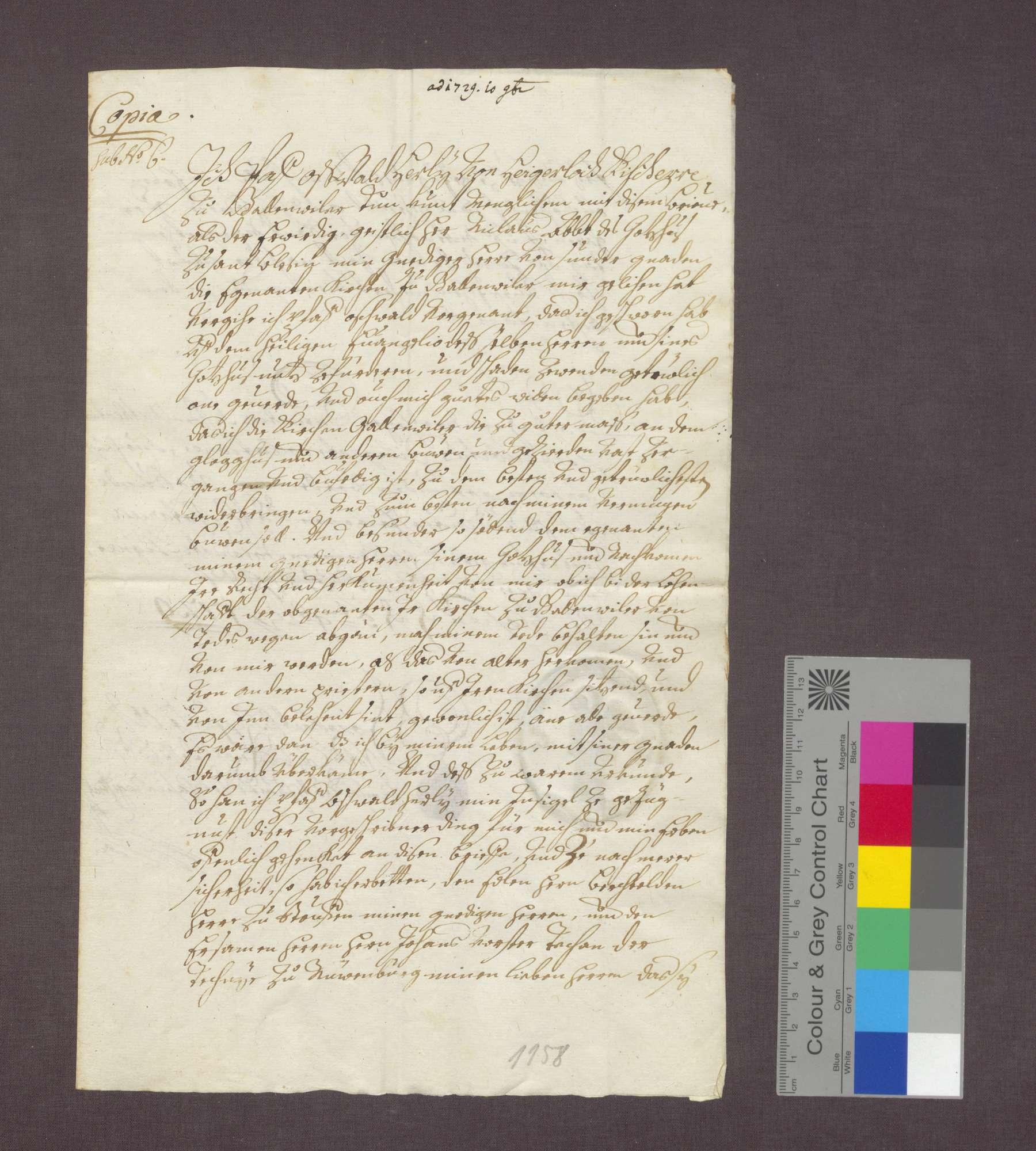 Revers des Oswald Herly gegenüber die Abtei St. Blasien über die Bestallung zum Pfarrer in Gallenweiler., Bild 3