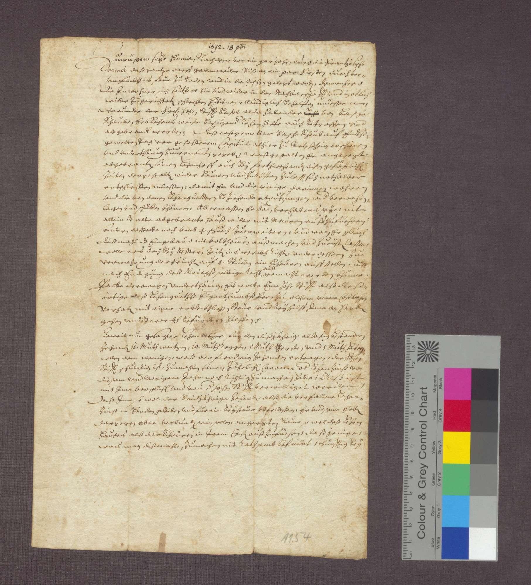 Verlgeich zwischen dem Domstift Basel und Basche Schaub von Gallenweiler über die Wiedererichtung seines niedergebrannten Lehenshofs., Bild 1