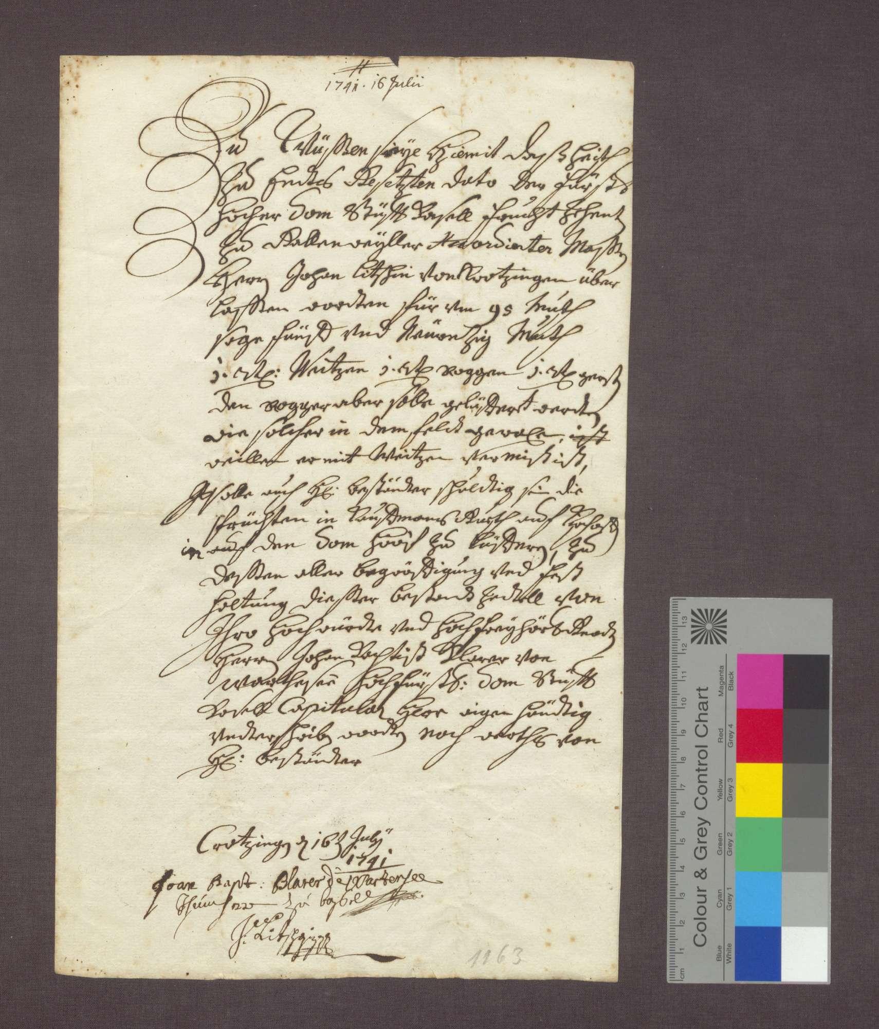 Bestandsbrief des Domstift Basler Zehnten zu Gallenweiler für Johann Litschin zu Krozingen., Bild 1