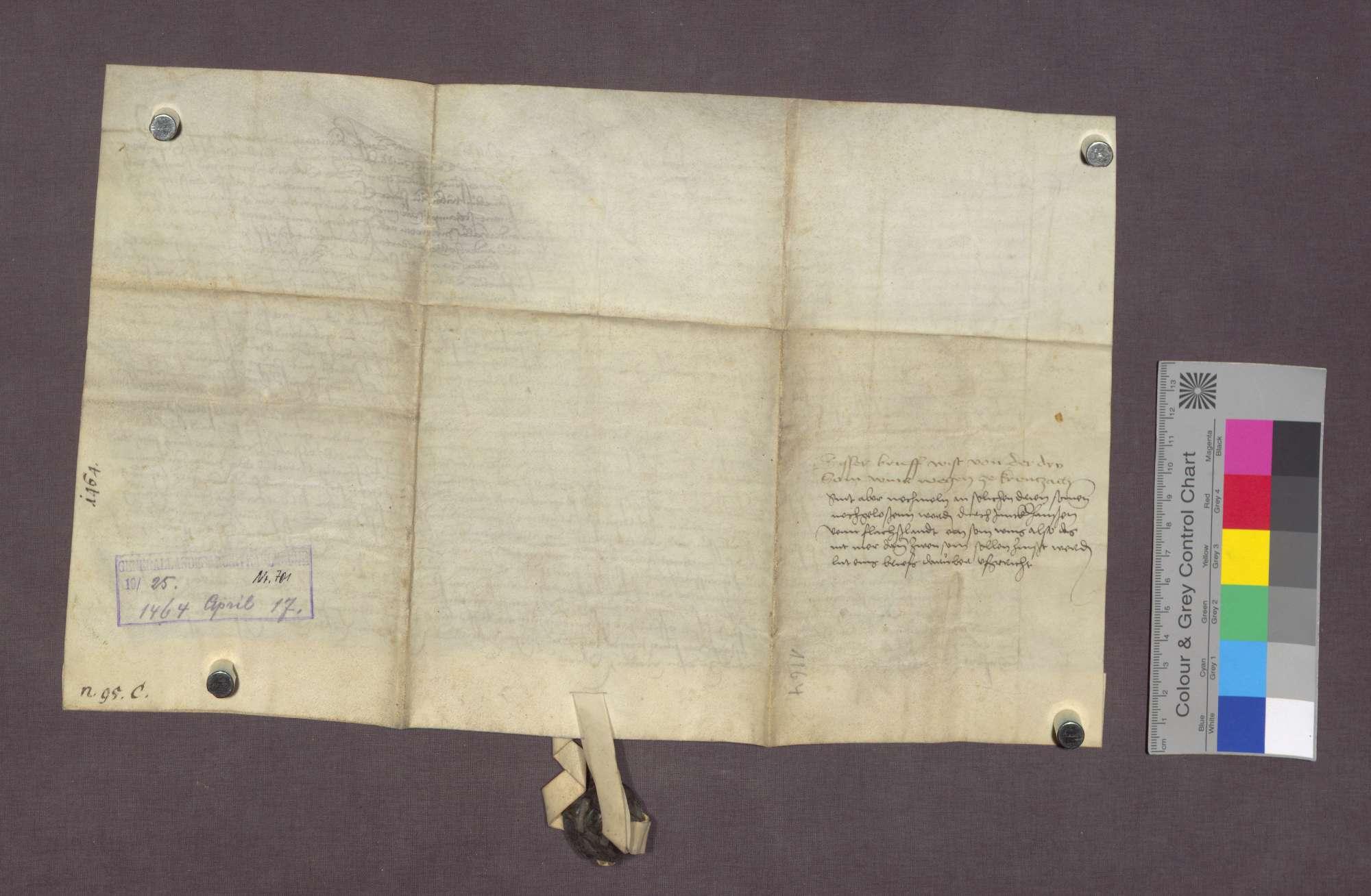 Ritter Hans von Flachslanden überträgt als Ehemann der Susanna Tribock dem Heinrich Schampy (Heini Tzamzi) von Grenzach mehrere Güter gegen Entrichtung einer Gült., Bild 2