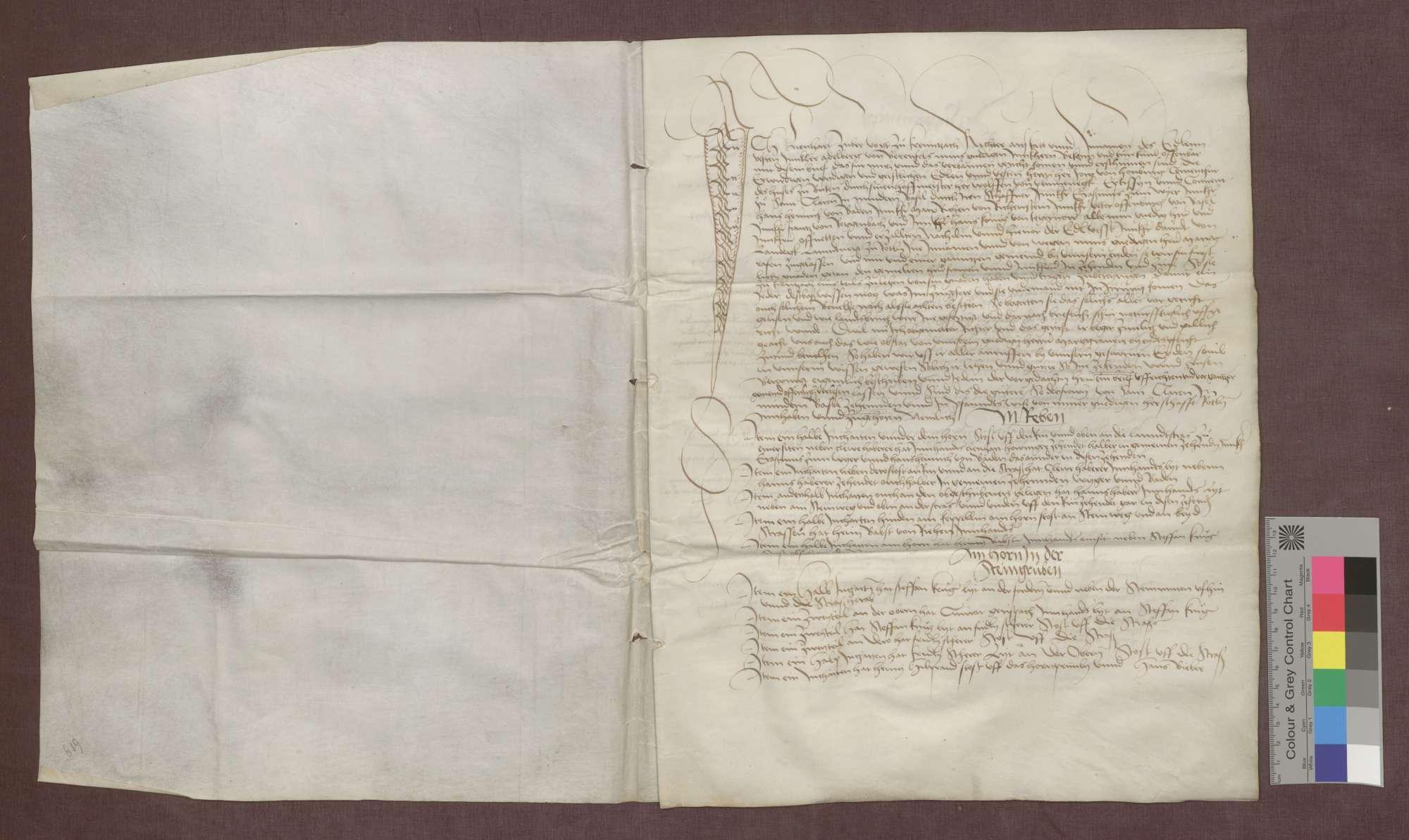 Berainbrief über den dem St. Klara-Kloster in Kleinbasel gehörigen Zehnten in Grenzach, ausgestellt von Vogt und Richtern der Gemeinde., Bild 2