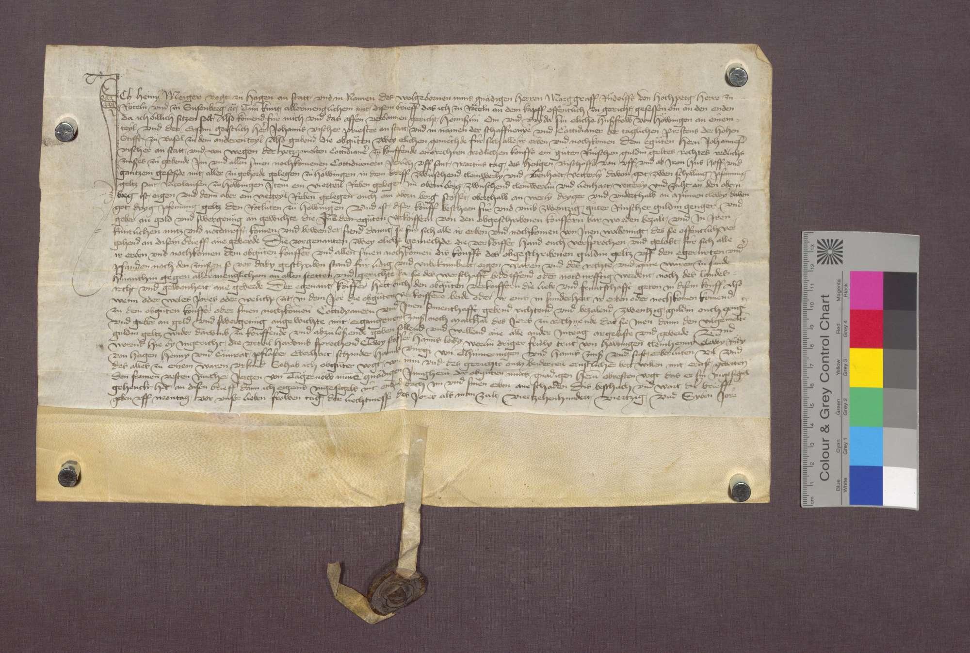 Gültverschreibung des Henslin Om von Hauingen und seiner Frau gegenüber dem Domkapitel zu Basel., Bild 1