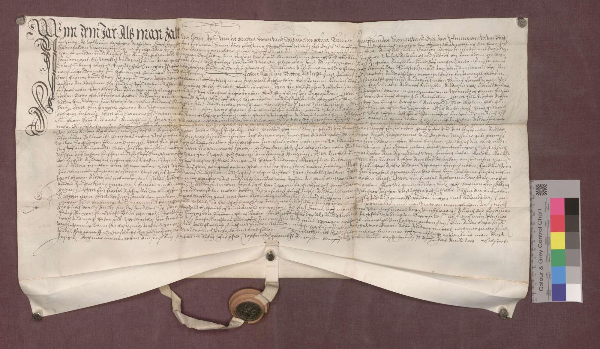 Berain über die Besitzungen des Domstifts Basel zu Herten, beurkundet vom Dorfgericht., Bild 1