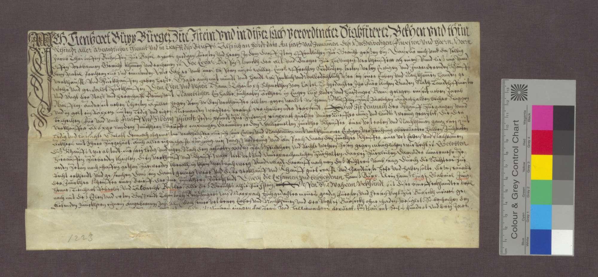 Blessin Wenk d. A. verkauft einen Acker an Hans Christoph Schenk von Castell., Bild 1