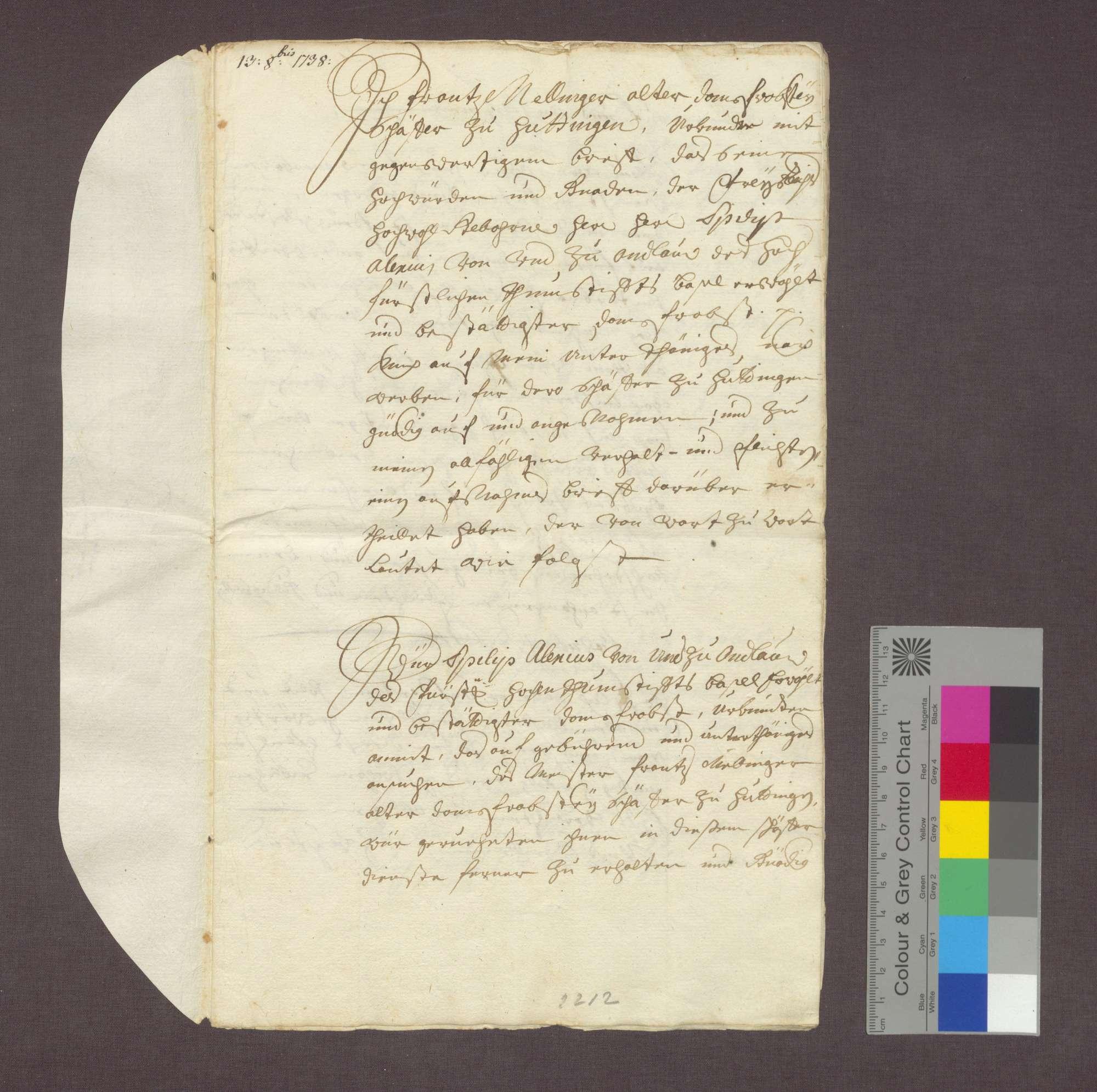 Franz Nellinger reversiert über seine Bestallung als Schäfer des Domstifts Basel in Huttingen., Bild 1