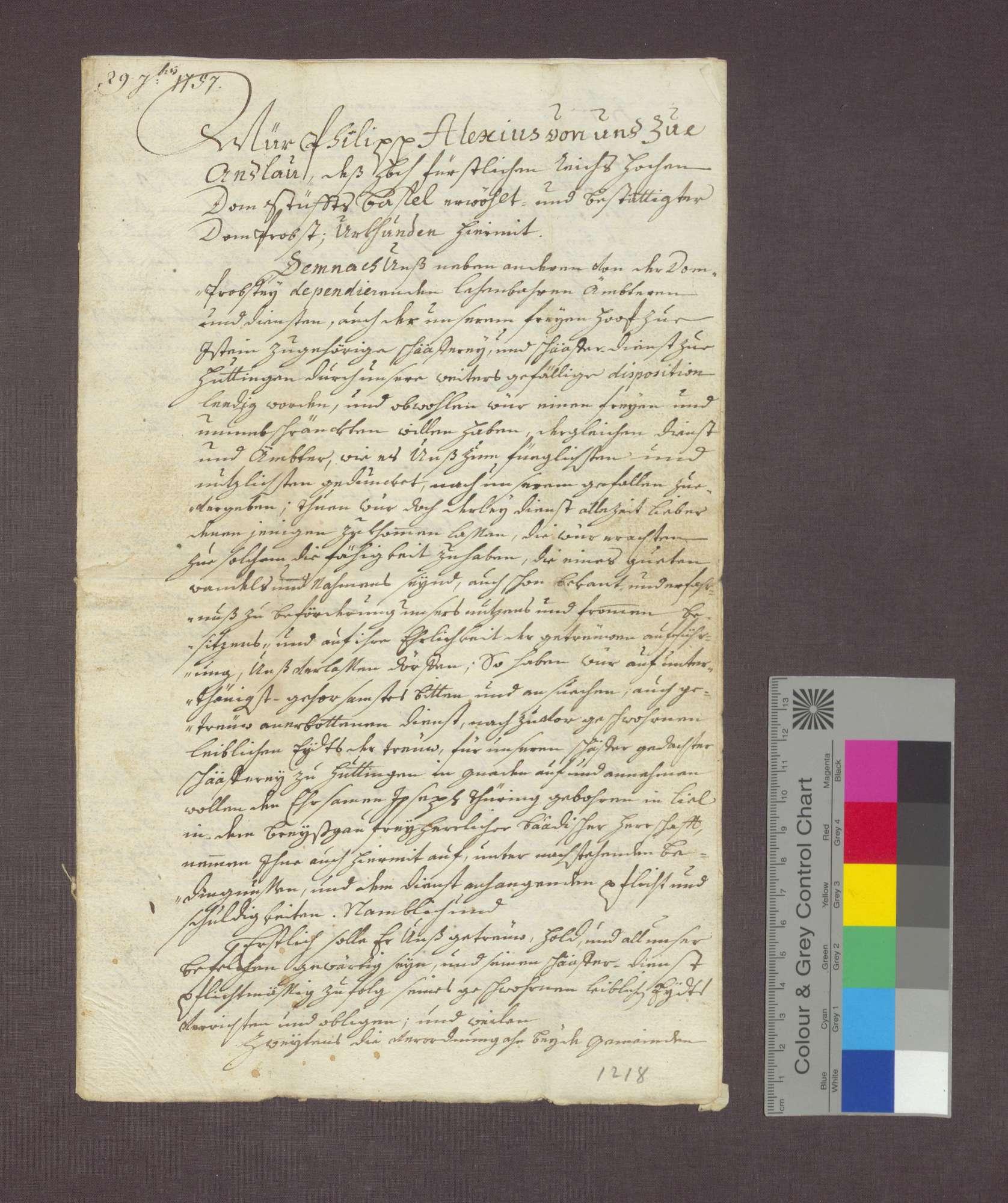 Bestallung des Josef Thüring als Schäfer des Basler Domkapitels in Huttingen., Bild 1