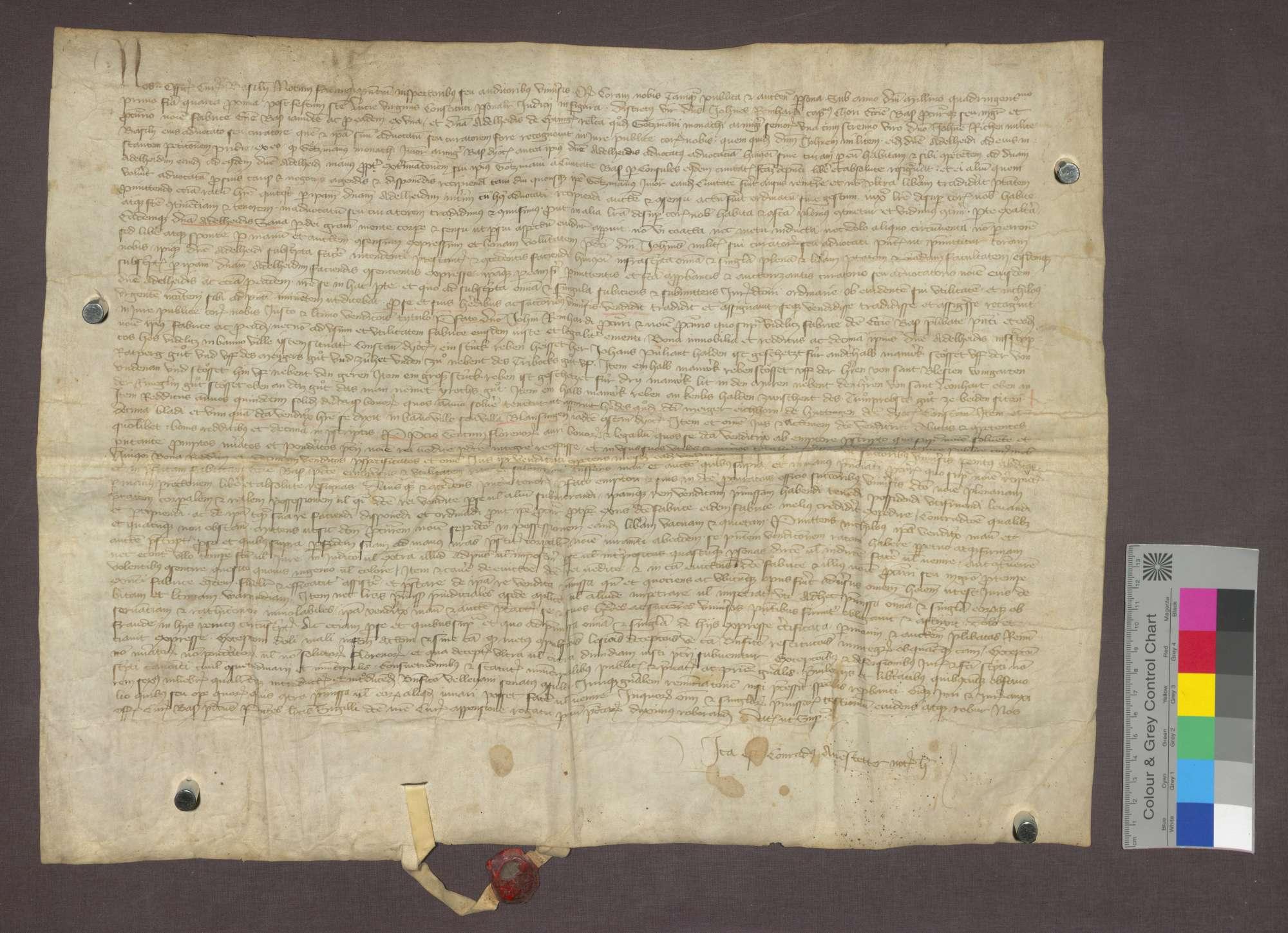 Adelheid von Eytingen verkauft an die Basler Münsterfabrik Güter und Zehnten zu Istein und eine Gült zu Blausingen., Bild 1
