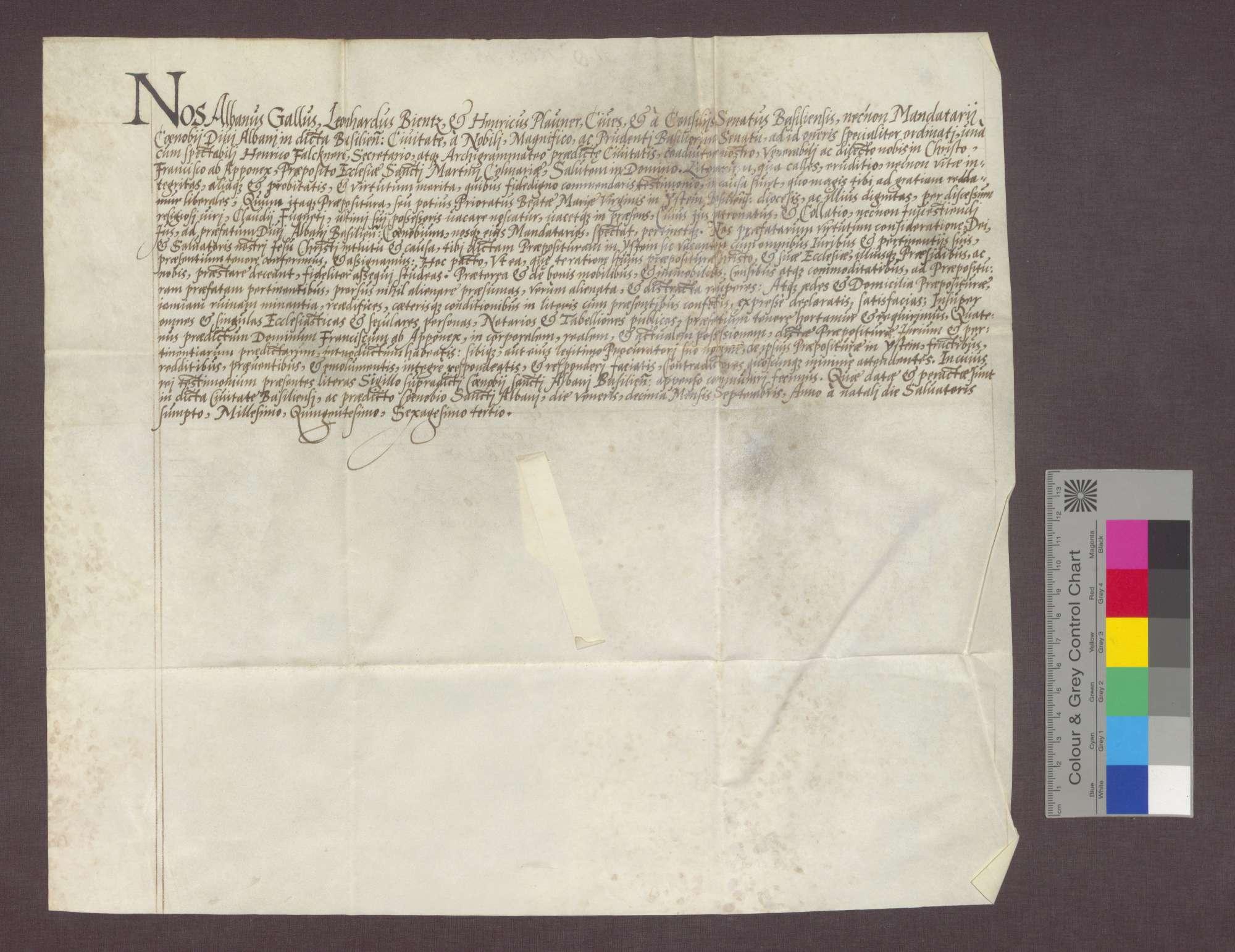 Der Rat von Basel überträgt dem Franz von Apponez das Priorat in Istein., Bild 1